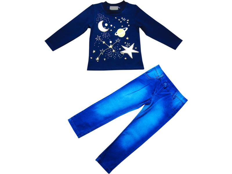 1508 Wholesale star and moon printed top with denim pant set for girl kids clothes (5-6-7 age)