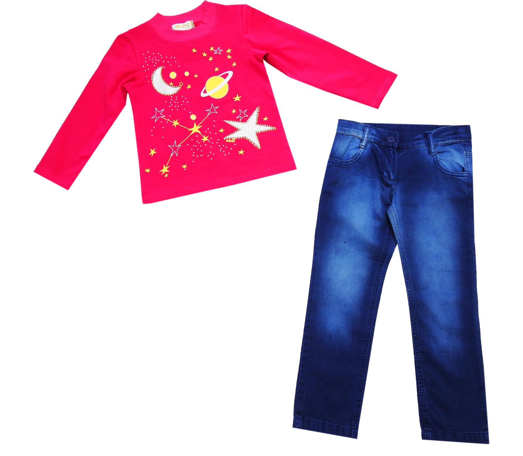 WHOLESALE MOON AND STARS PRINT LONG SLEEVE T-SHIRT AND JEANS PANT FOR GIRL (5-6-7 AGE)