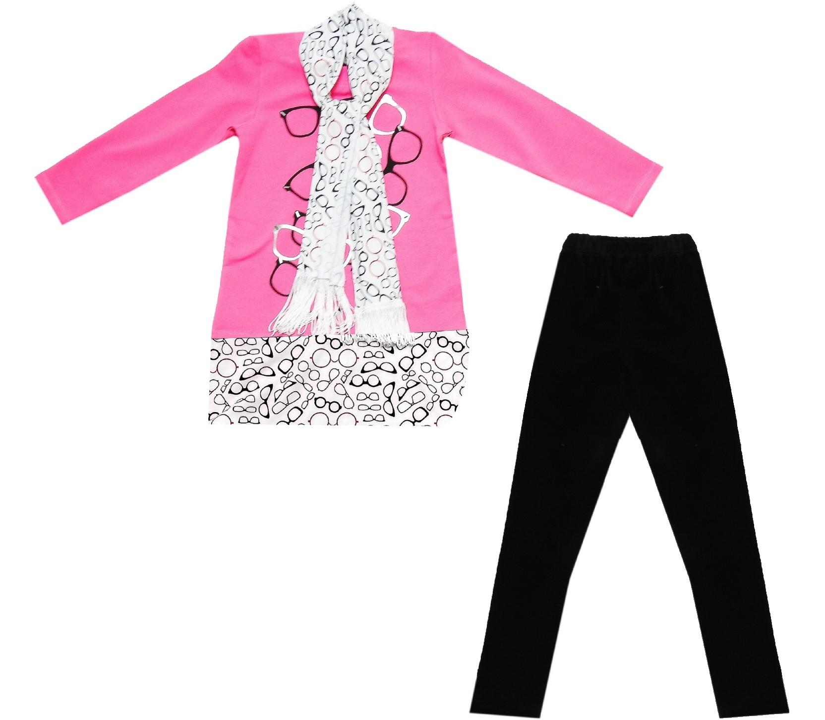 Wholesale tunic, tight and scarf triple set for girl (6-7-8 age)