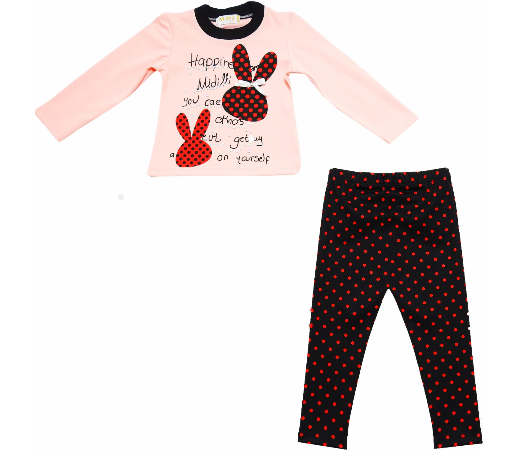 WHOLESALE RABBIT PRINT SPOTTY LONG SLEEVE T-SHIRT AND TROUSER DOUBLE SET FOR GIRL (3-4-5 AGE)
