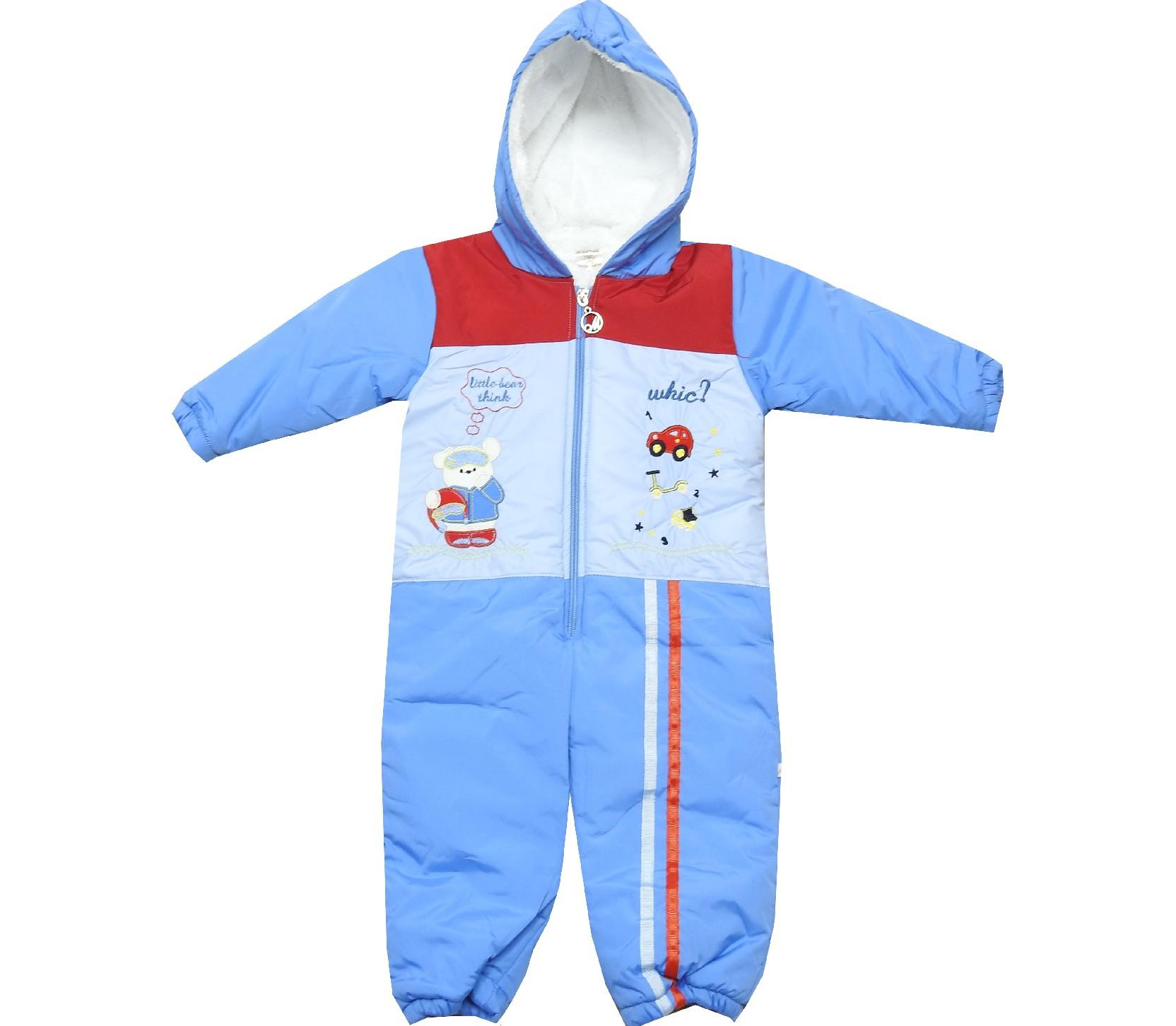 Wholesale little bear print hooded overall for boy (6-9-12 month)