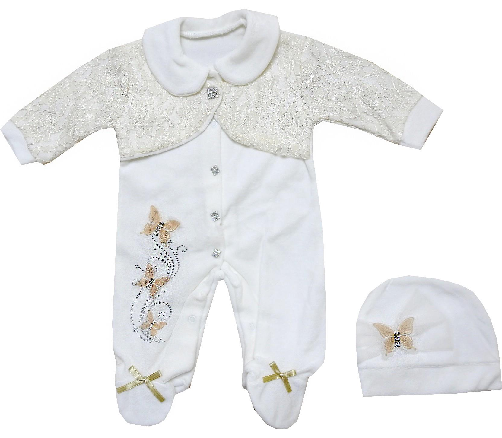 Wholesale decorative boler butterfly print romper for baby girl (3-6-9 month)