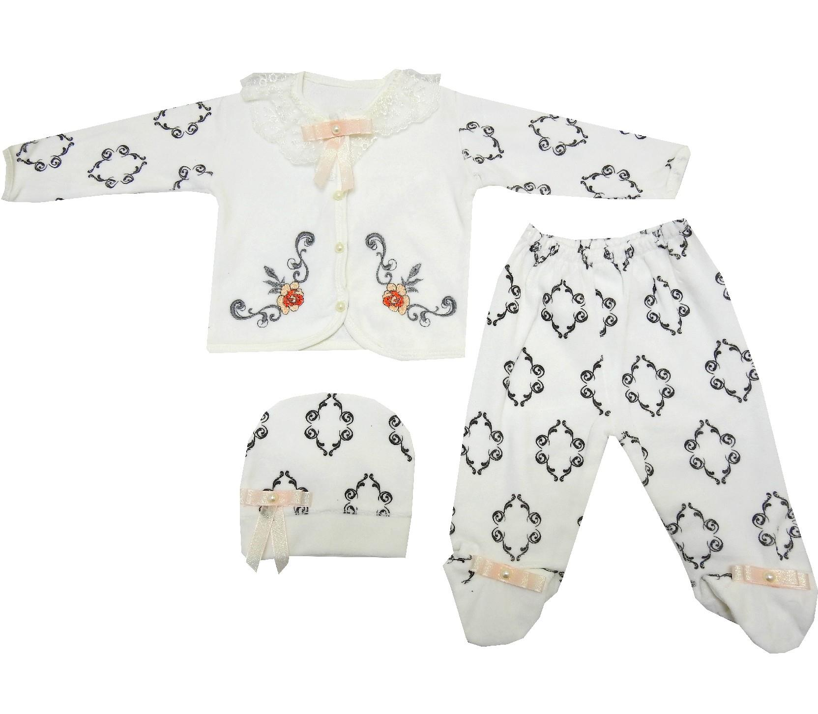 FLOWERY EMBROIDERY DESIGNED TRIPLE SET GIRL (3-6 MONTH)