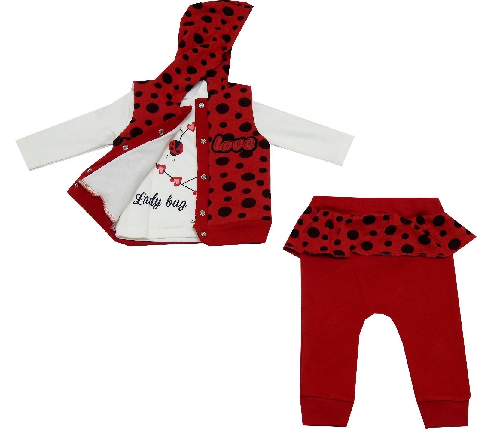 SPOTTY EMBROIDERY DESIGNED TRIPLE SET FOR GIRL (3-6 MONTH)