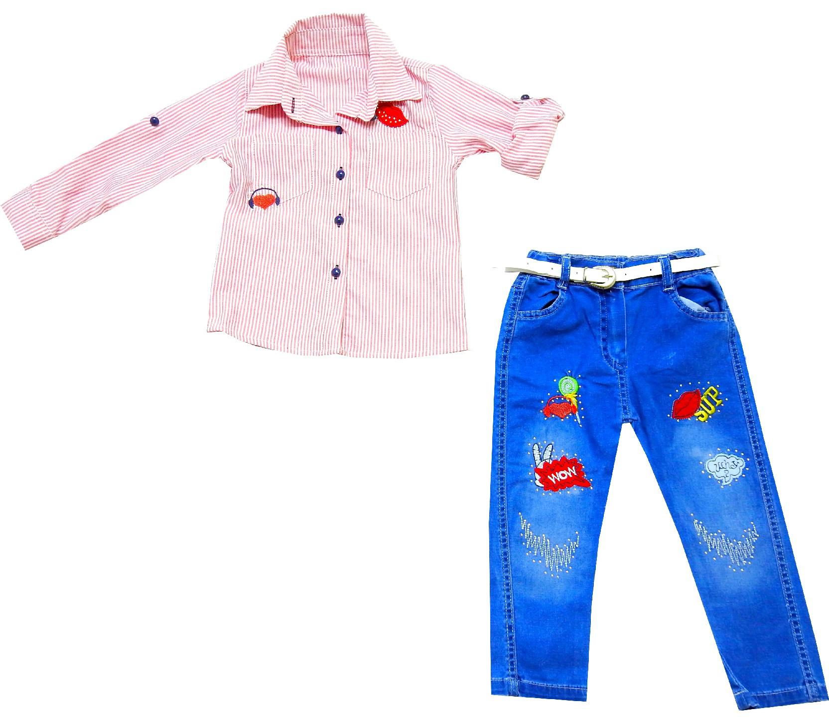 WHOLESALE APPLIQUE DESIGN SHIRT AND JEANS TROUSER FOR GIRL (1-2-3-4 AGE)