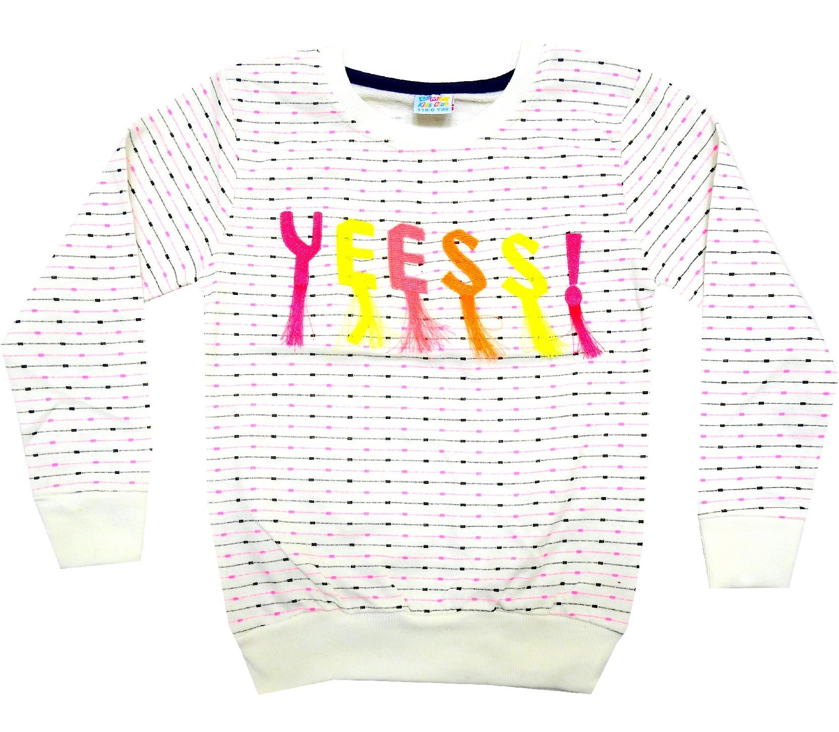 WHOLESALE YESS AND LOVE APPLIQUE DESIGN SWEATSHIRT FOR GIRL (6-7-8-9-10 AGE)