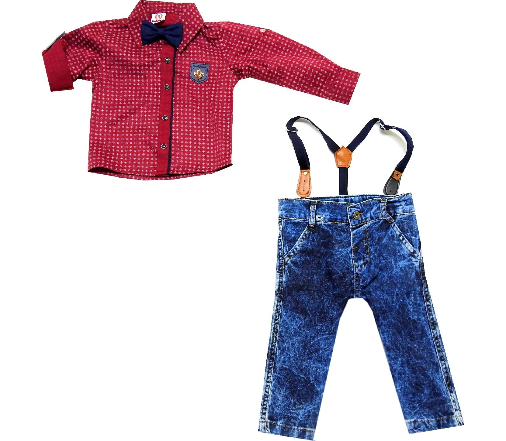 Wholesale geometric embroidery shirt and suspended jeans pant (1-2-3 age)