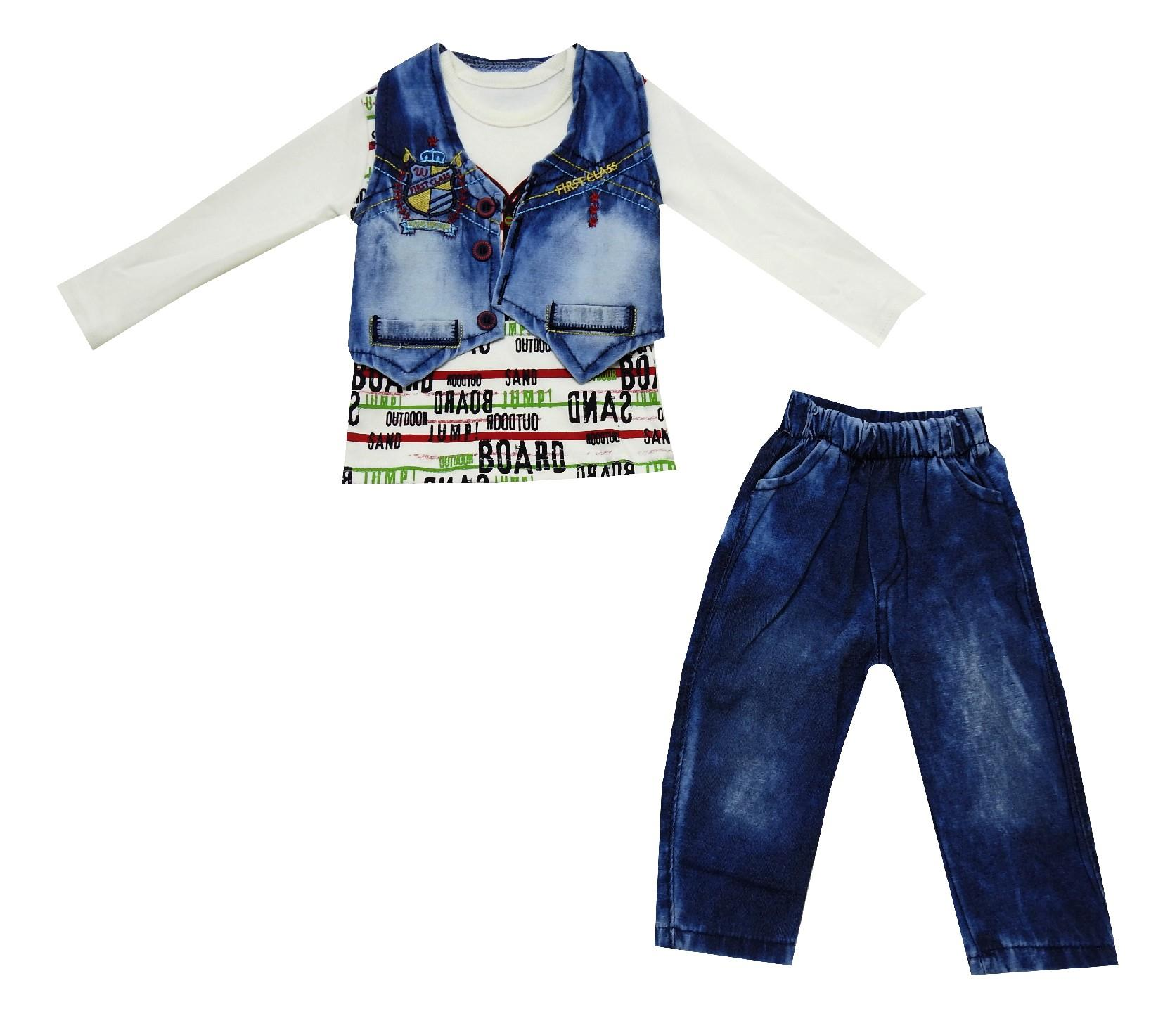 Wholesale jeans vest, long sleeve t-shirt and jeans pant for boy (1-2-3 age)