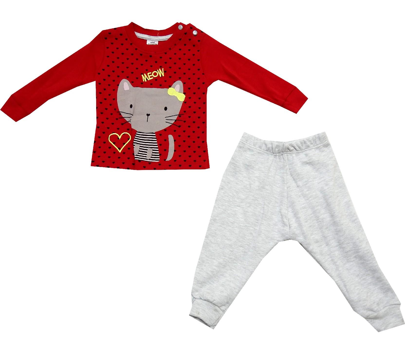 CAT PRINTED DESIGN DOUBLE SET FOR GIRL (1-2-3 AGE)