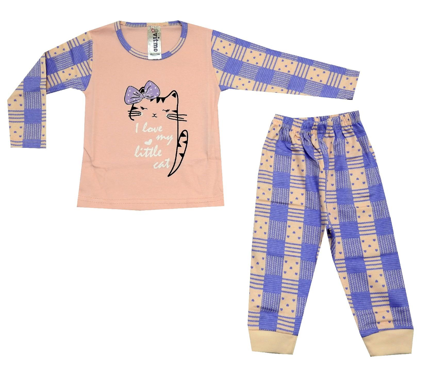 CAT PRINTED DESIGN PYJAMAS DOUBLE SET FOR GIRL (1-2-3 AGE)