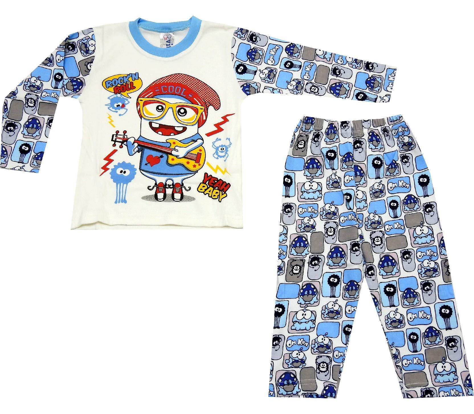 ROCK'N ROLL PRINTED DESIGN PYJAMAS DOUBLE SET FOR BOY (1-2-3 AGE)