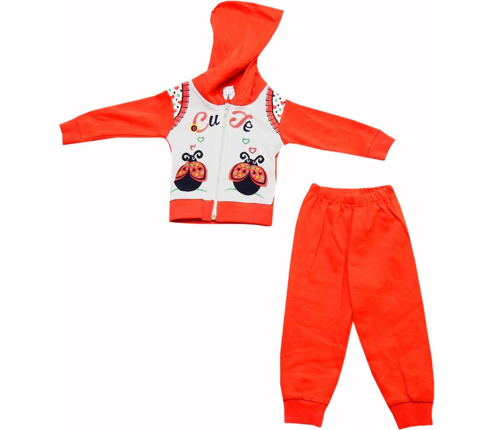 Wholesale cute ladybug print sweat and trouser tracksuit doule set for girl (6-9-12 month)