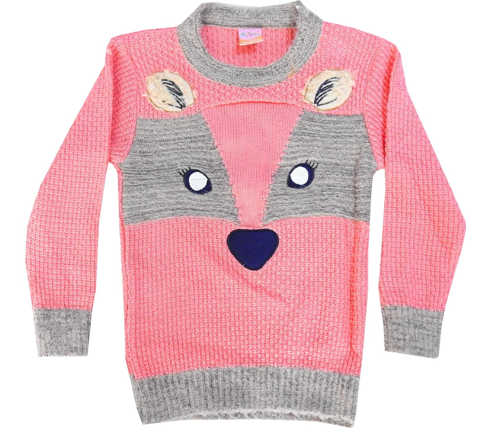 FACE OF CAT PRINTED KNITTED DESIGN SWEATER FOR GIRL (4-6-8-10 AGE)