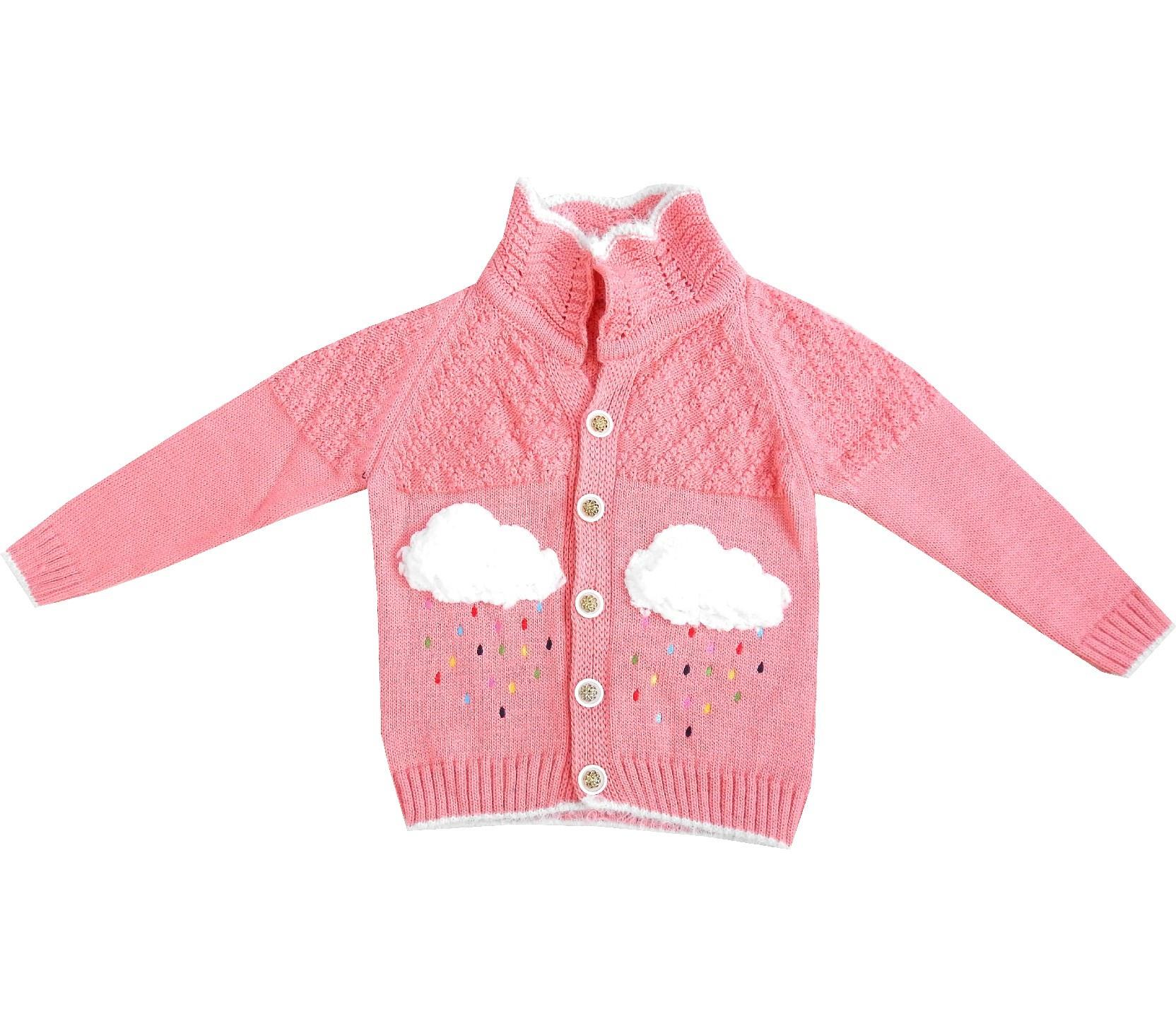 CLOUDY RAIN KNITTED DESIGN CARDIGAN FOR GIRL (1-2-3-4 AGE)