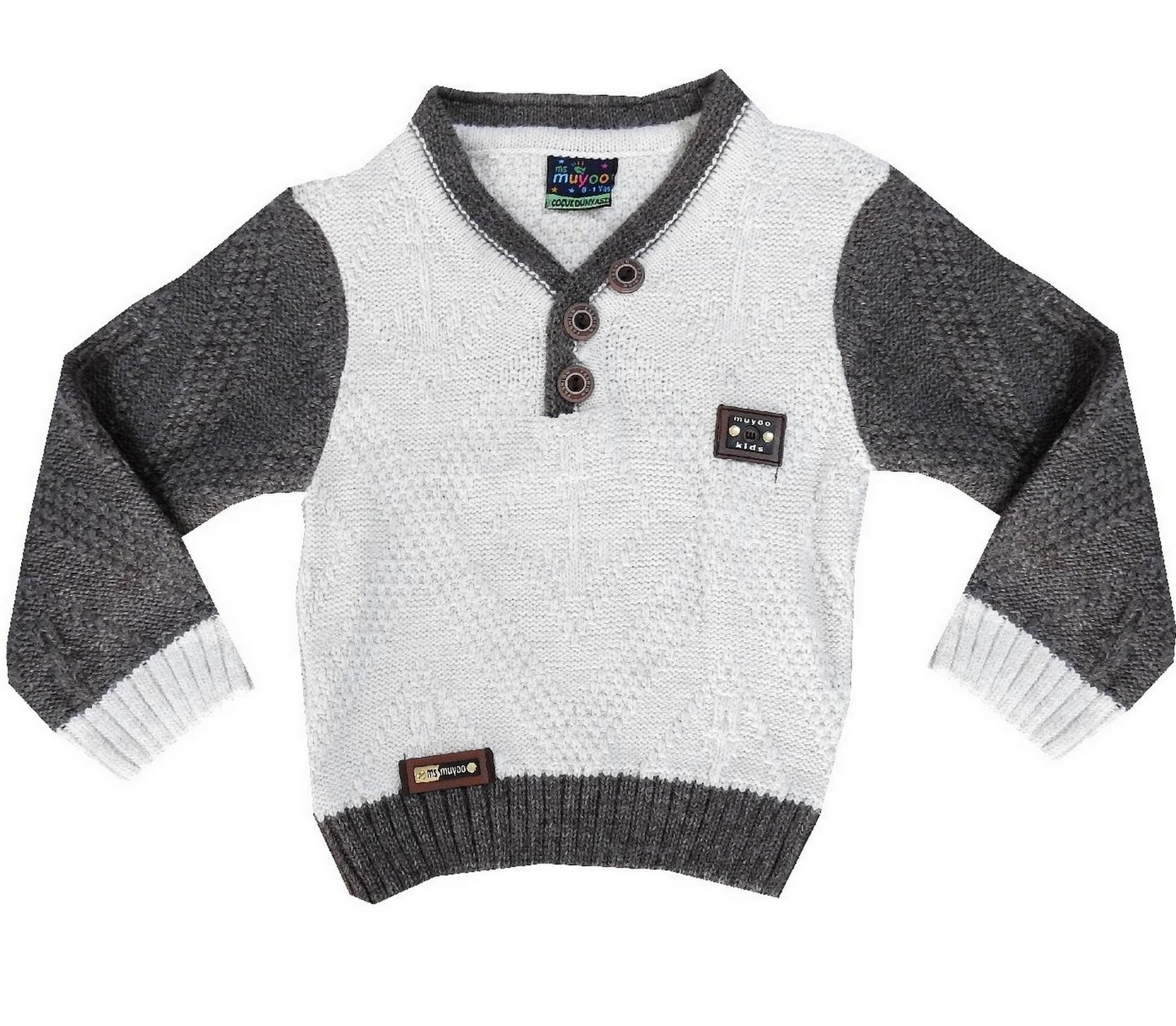 V NECK KNITTED DESIGN SWEATER FOR BOY (1-2-3-4 AGE)