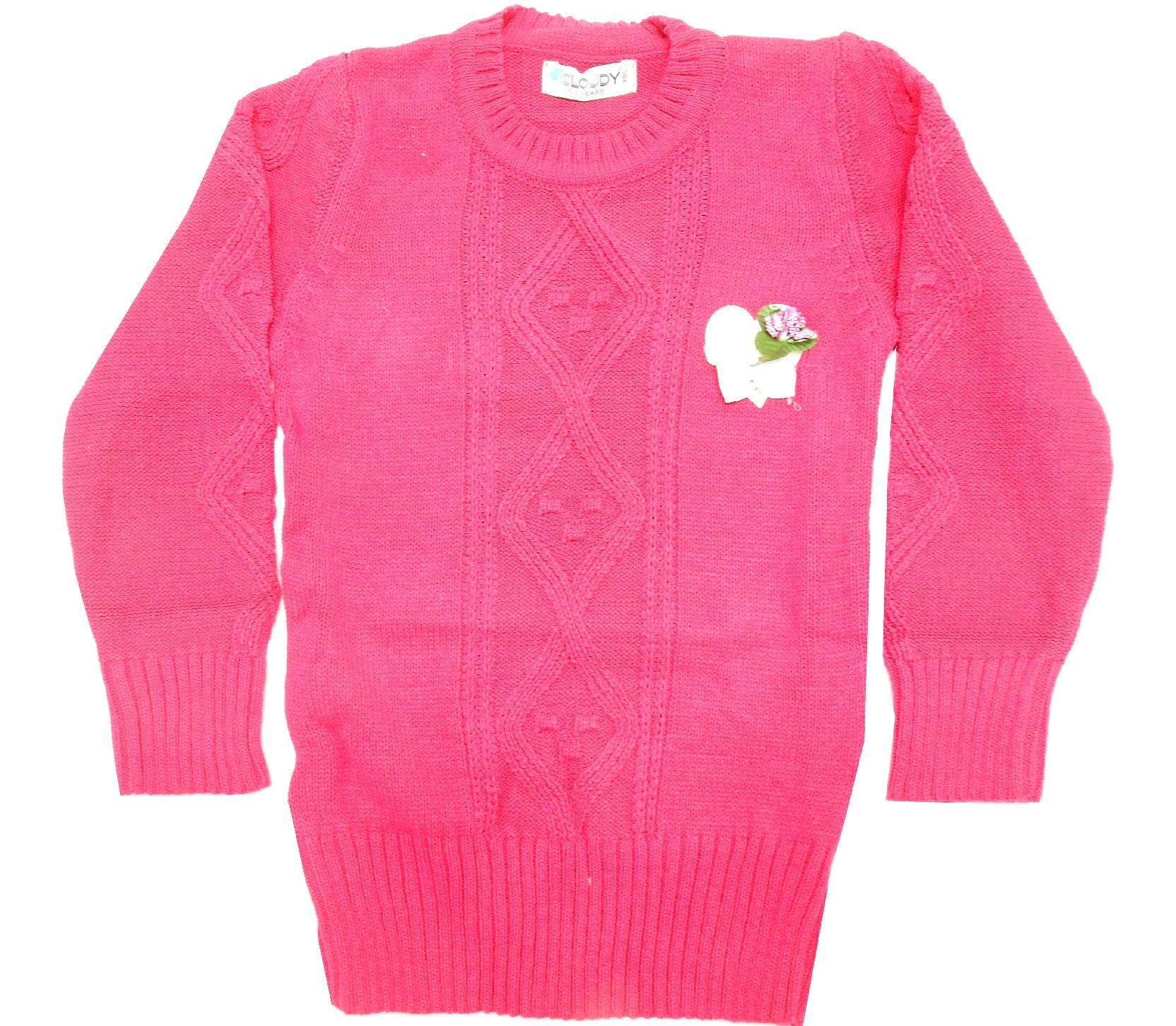WHOLESALE DECORATIVE FLOWER APPLIQUE KNITTED DESIGN TUNIC SWEATER FOR GIRL (5-7-9 AGE)