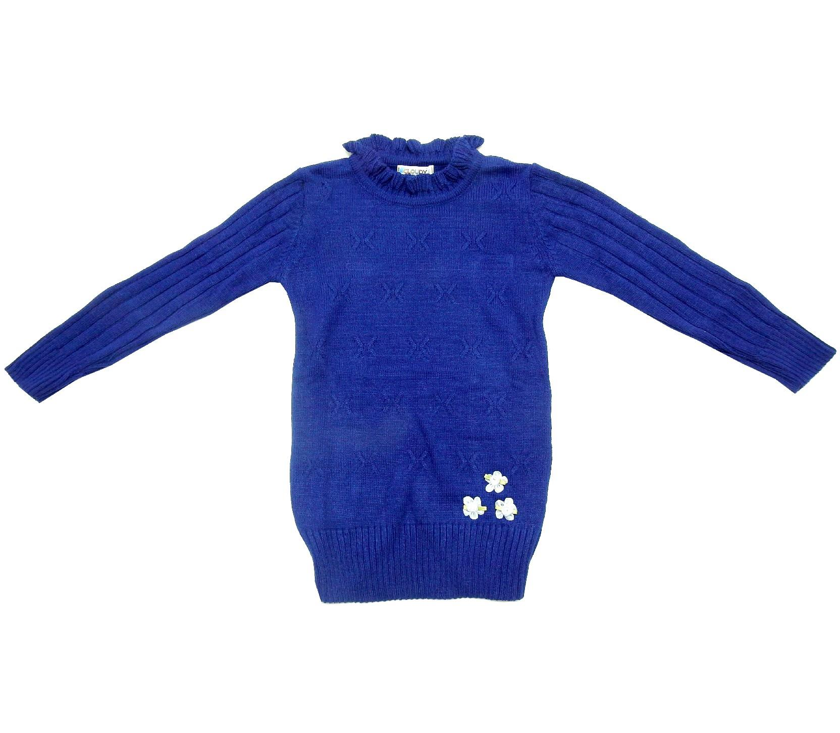 WHOLESALE FLOWERY APPLIQUE KNITTED DESIGN TUNIC FOR GIRL (5-7-9 AGE)