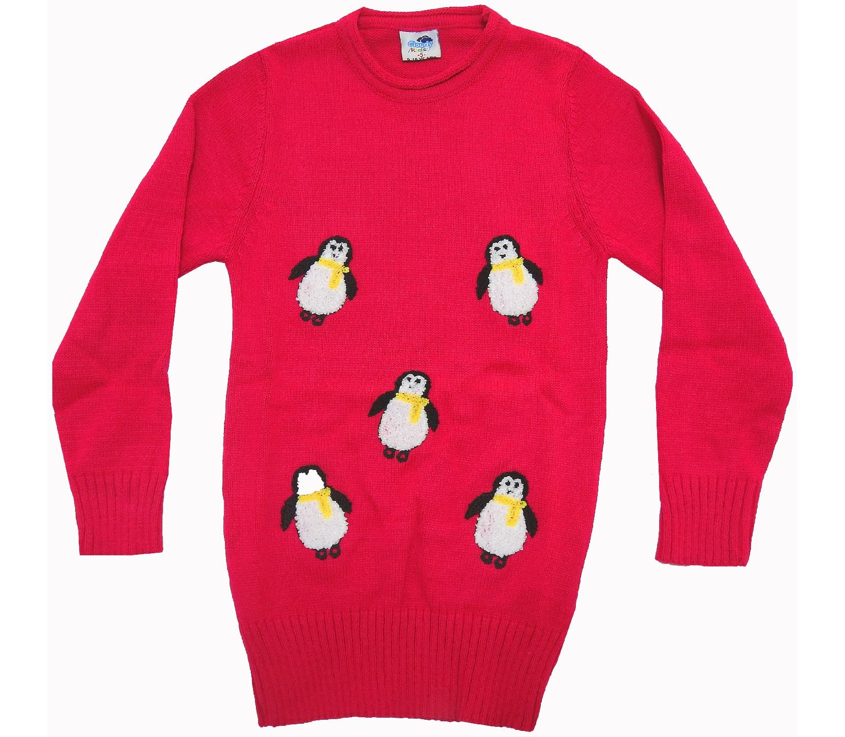 WHOLESALE PENGUIN APPLIQUE SWEAT TUNIC FOR GIRL (5-7-9 AGE)