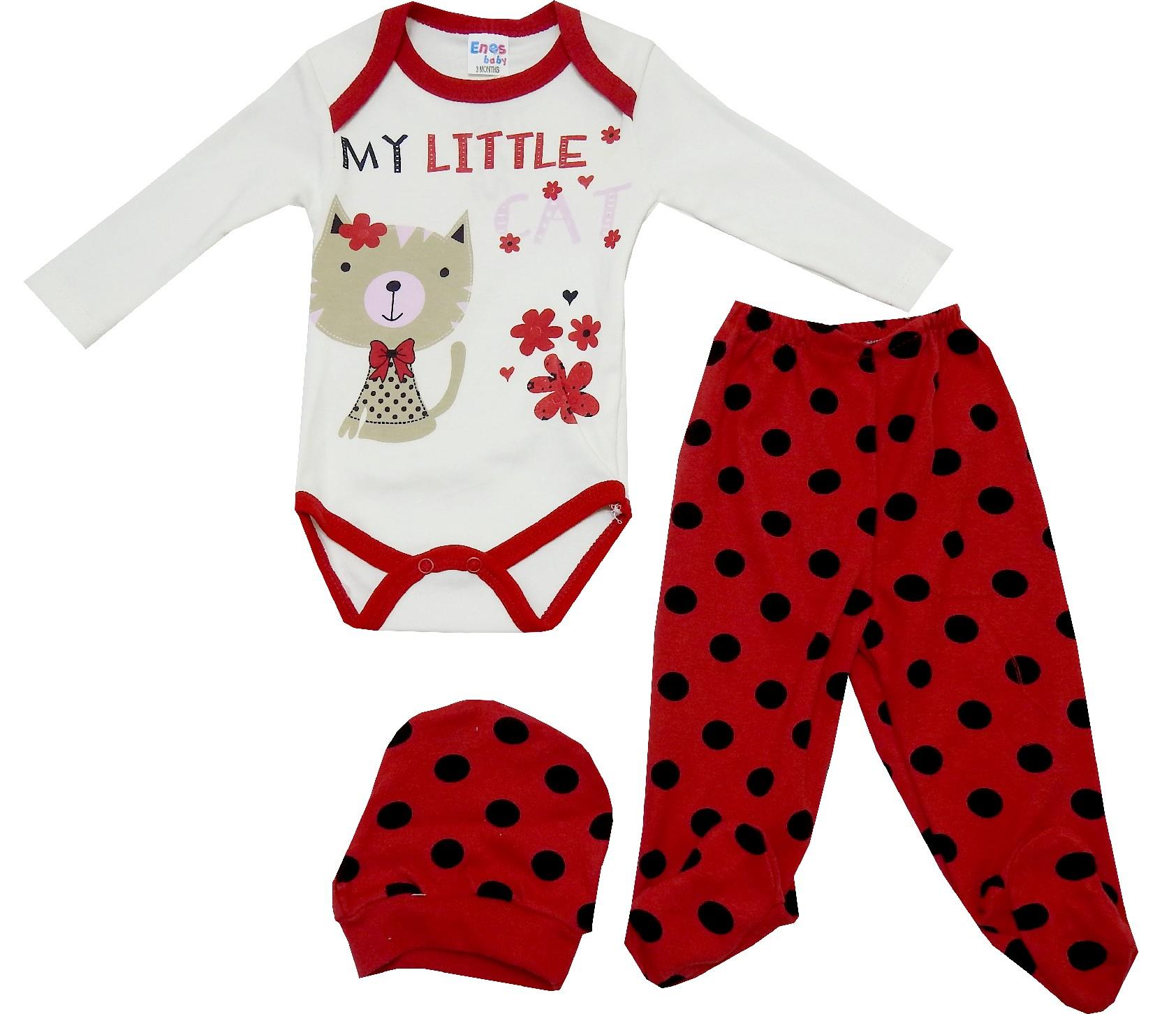 ASSORTED PRINTED DESIGN BODYSUIT, BEANIE, TROUSER TRIPLE SET FOR GIRL (3-6 MONTH)