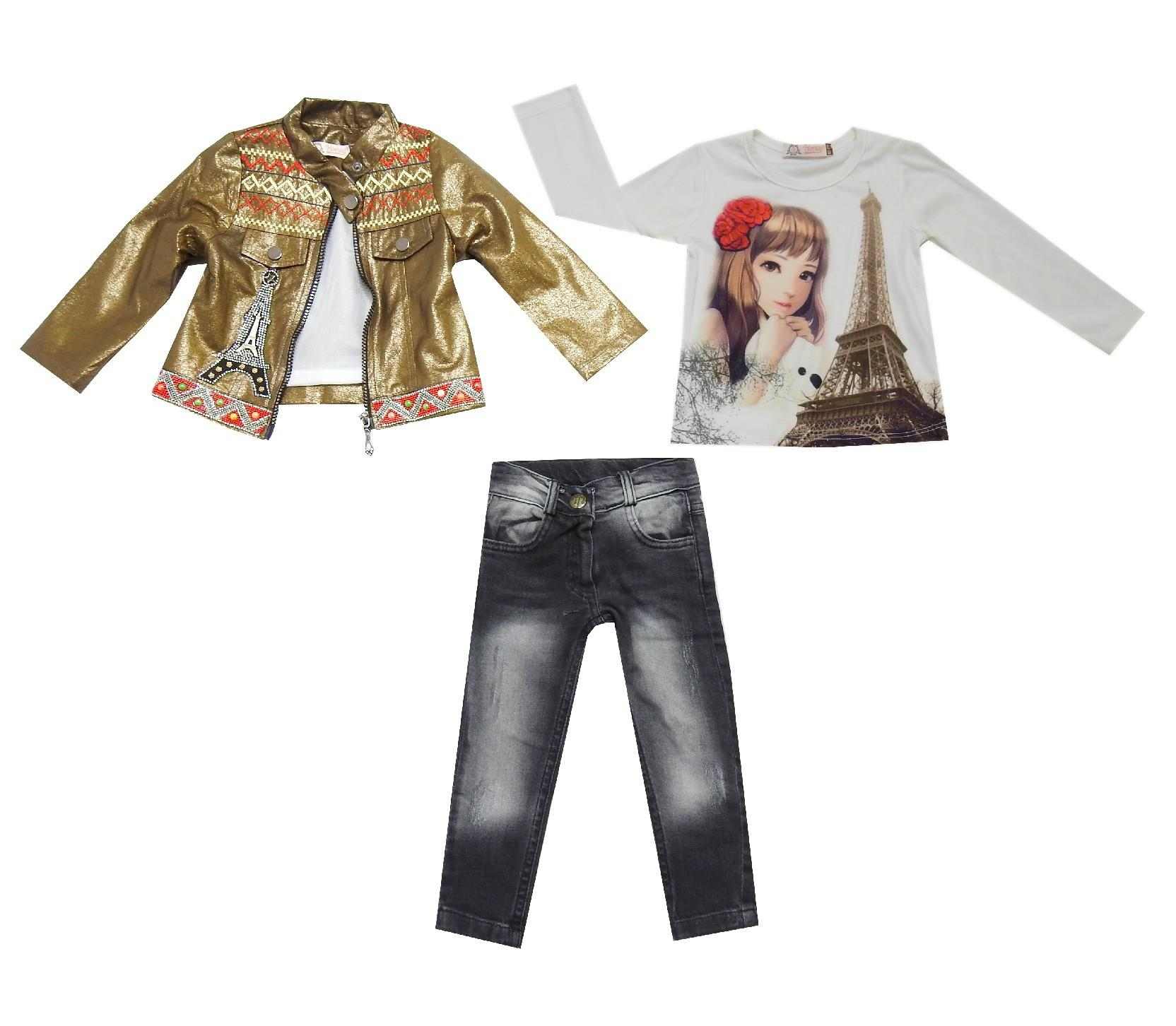 Wholesale eiffel print jacket, long sleeve t-shirt and jeans pant (2-3-4-5 age)