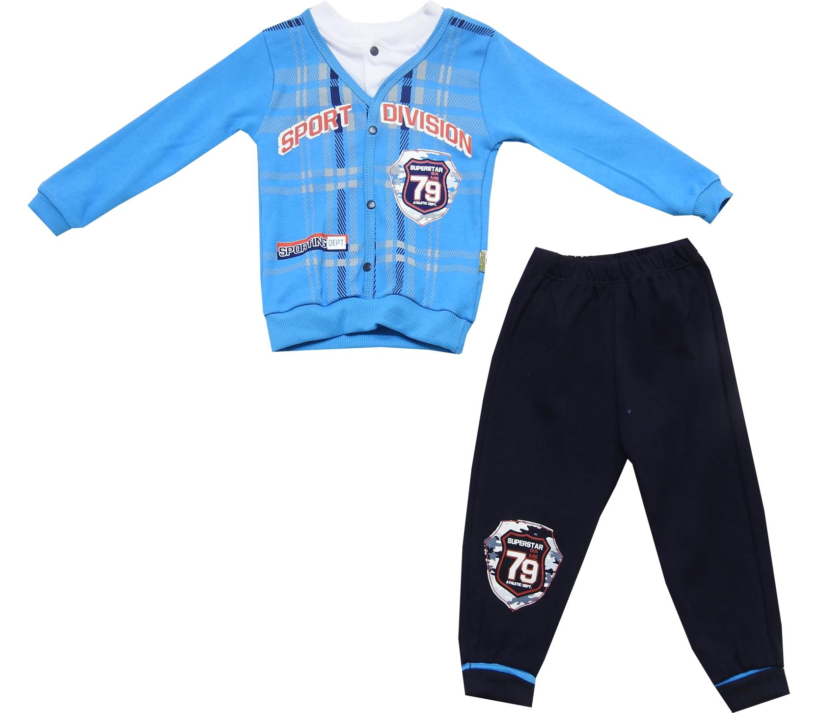 Wholesale sport division 79 print sweat cardigan and trouser double set suit for baby boy (6-12-18-24 month)