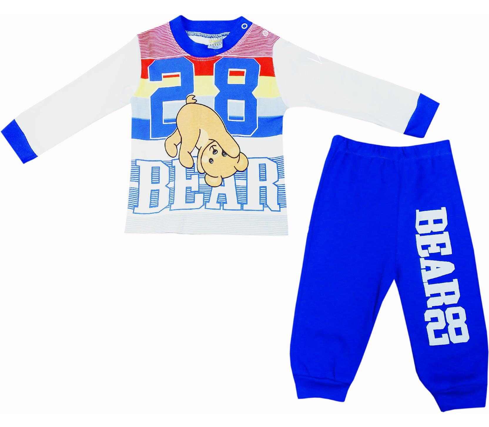 Wholesale 28 bear print long sleeve t-shirt and trouser tracksuit double set for boy (6-9-12 age)