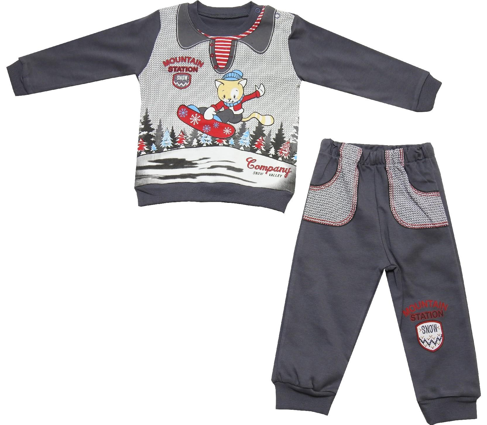 Wholesale cat printed design sweat and trouser double set tracksuit for boy (12-18-24 month)