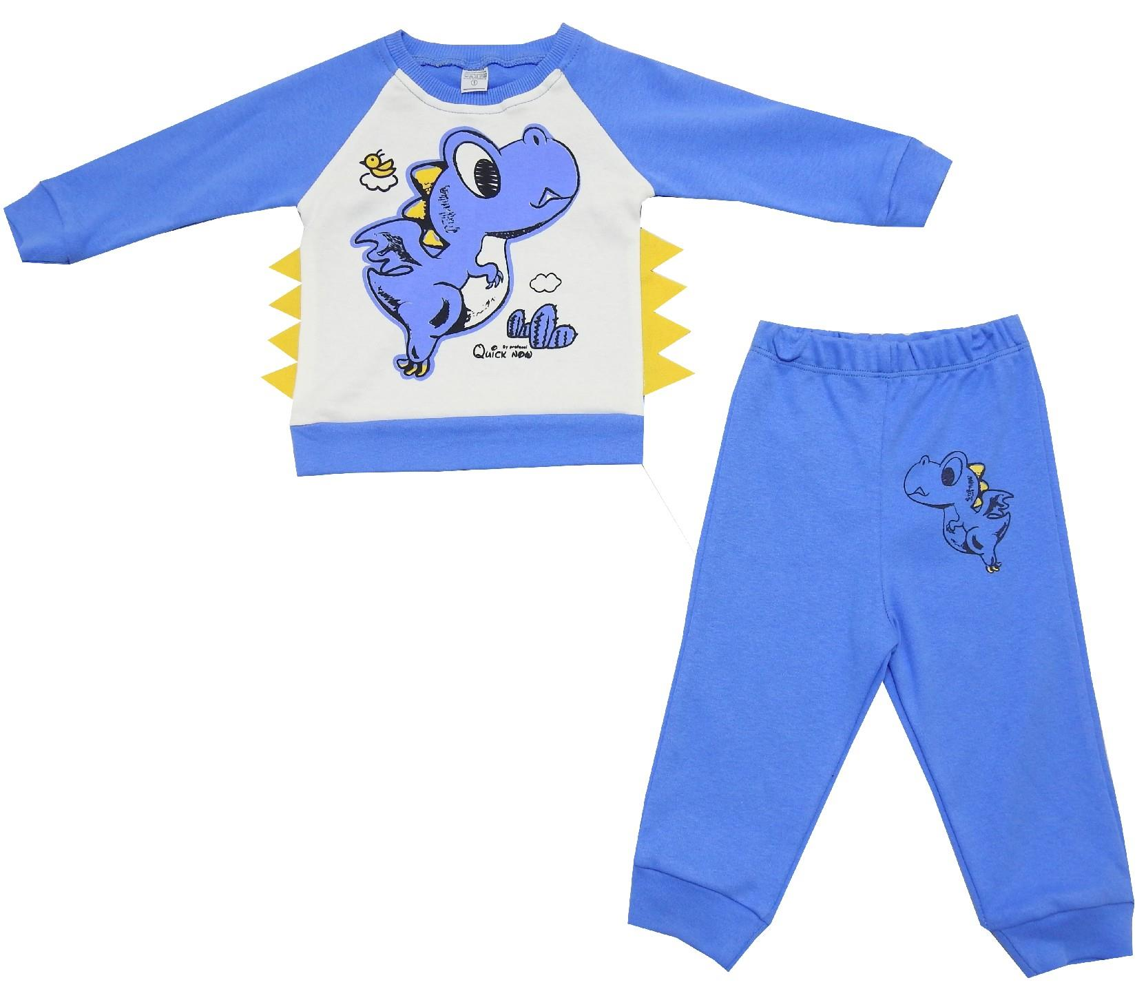 WHOLESALE DINOSAUR PRINTED SWEATSHIRT AND TROUSER DOUBLE SET FOR BOY/BABY AND KIDS (1-2-3 AGE)