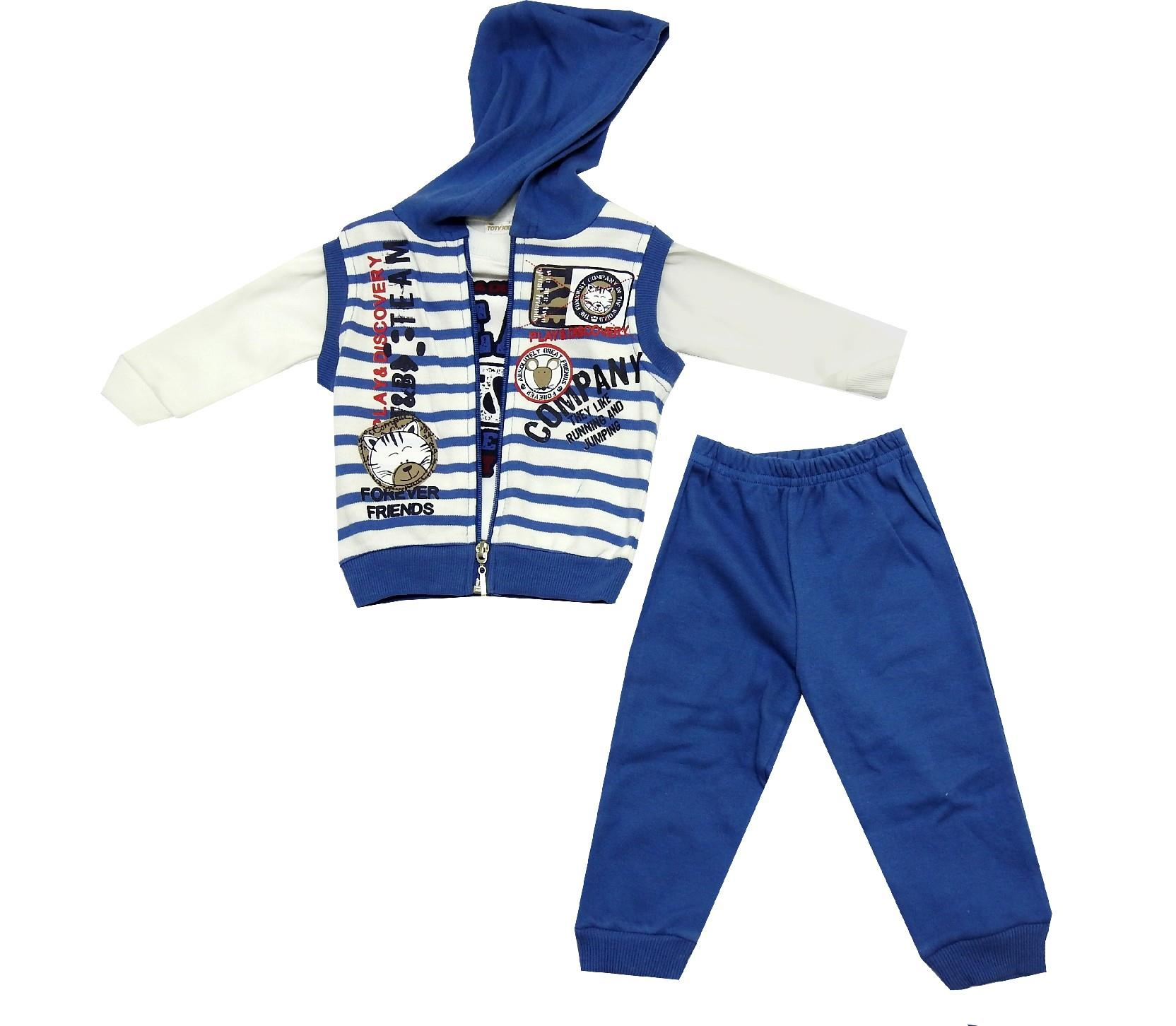 WHOLESALE STRIPED DESIGNED T-SHIRT, WAIST AND TROUSER TRIPLE SET FOR BOY (6-9-12 MONTH)