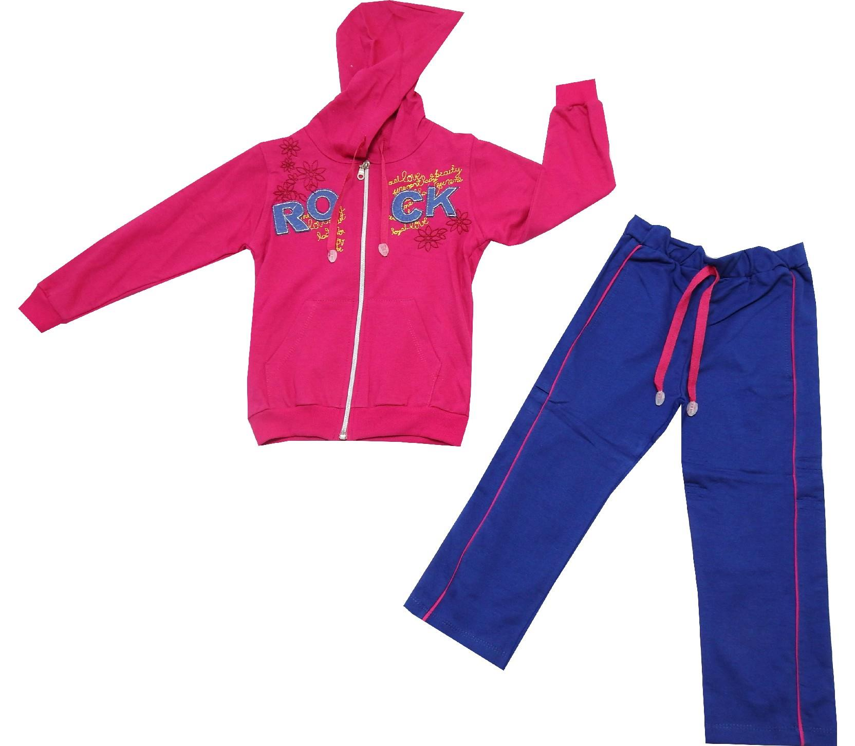 WHOLESALE HOODED ROCK PRINT SWEATSHIRT AND TROUSER DOUBLE SET FOR GIRL (5-6-7-8 AGE)