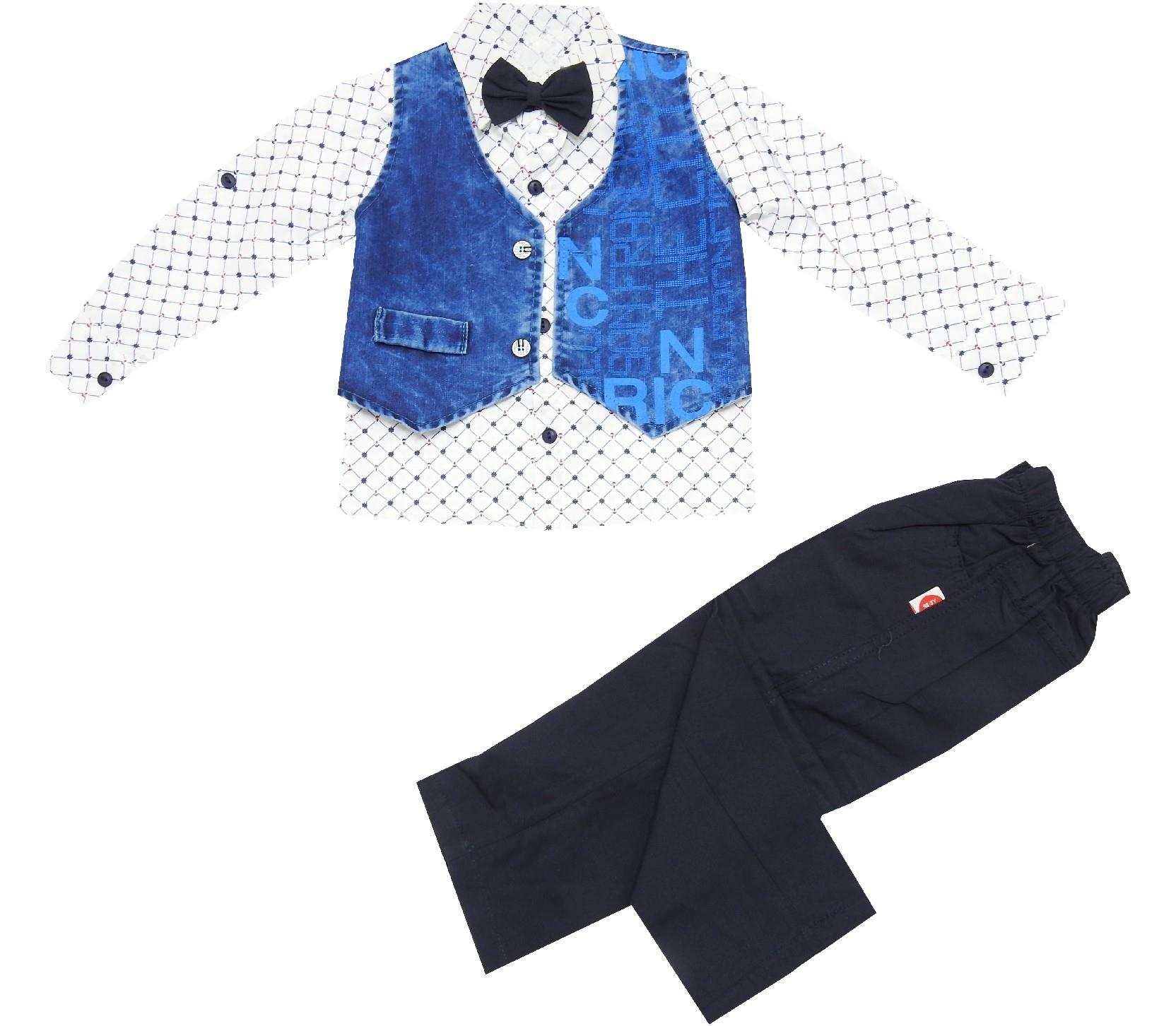 WRITENING DESIGNED JEANS WAIST, SHIRT AND TROUSER TRIPLE SET FOR BOY (1-2-3 AGE)