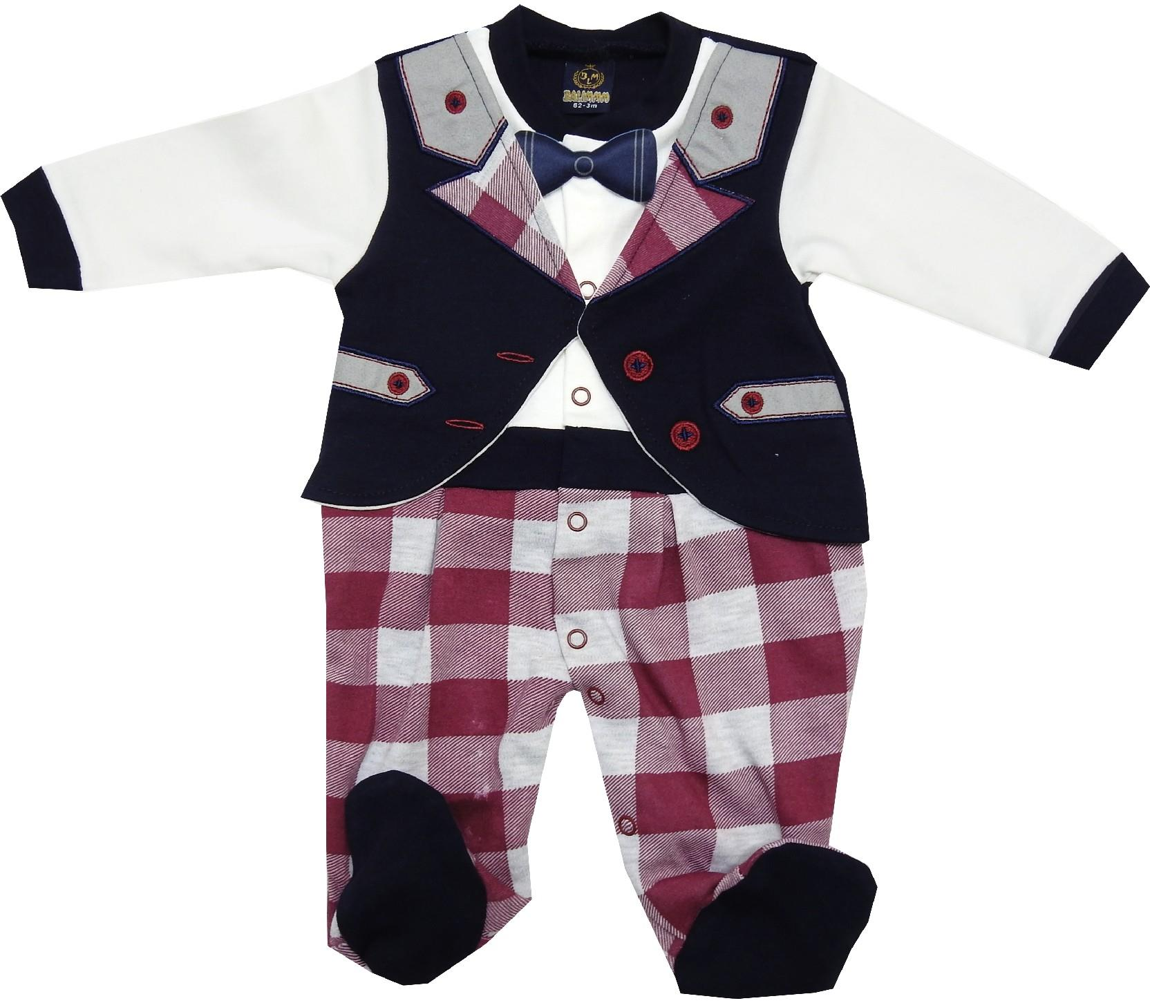 WHOLESALE CHECK FABRIC EMBROIDERY BODYSUIT FOR BOY (3-6-9 MONTH)