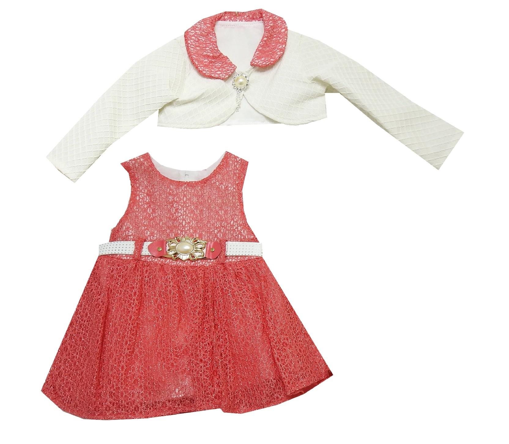 Wholesale lace embroidery bolero and dress double set for girl (1-2-3 age)