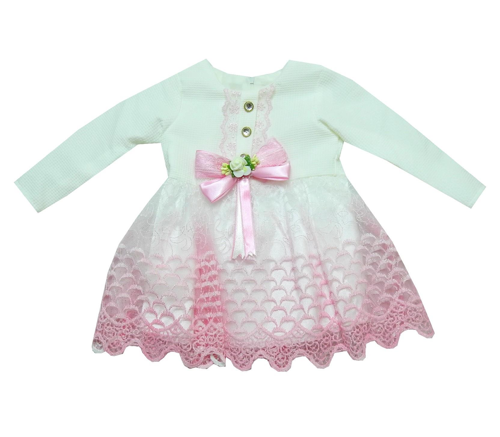 WHOLESALE BOW APPLIQUE LACE EMBROIDERY DESIGN DRESS FOR GIRL (1-2-3 AGE)