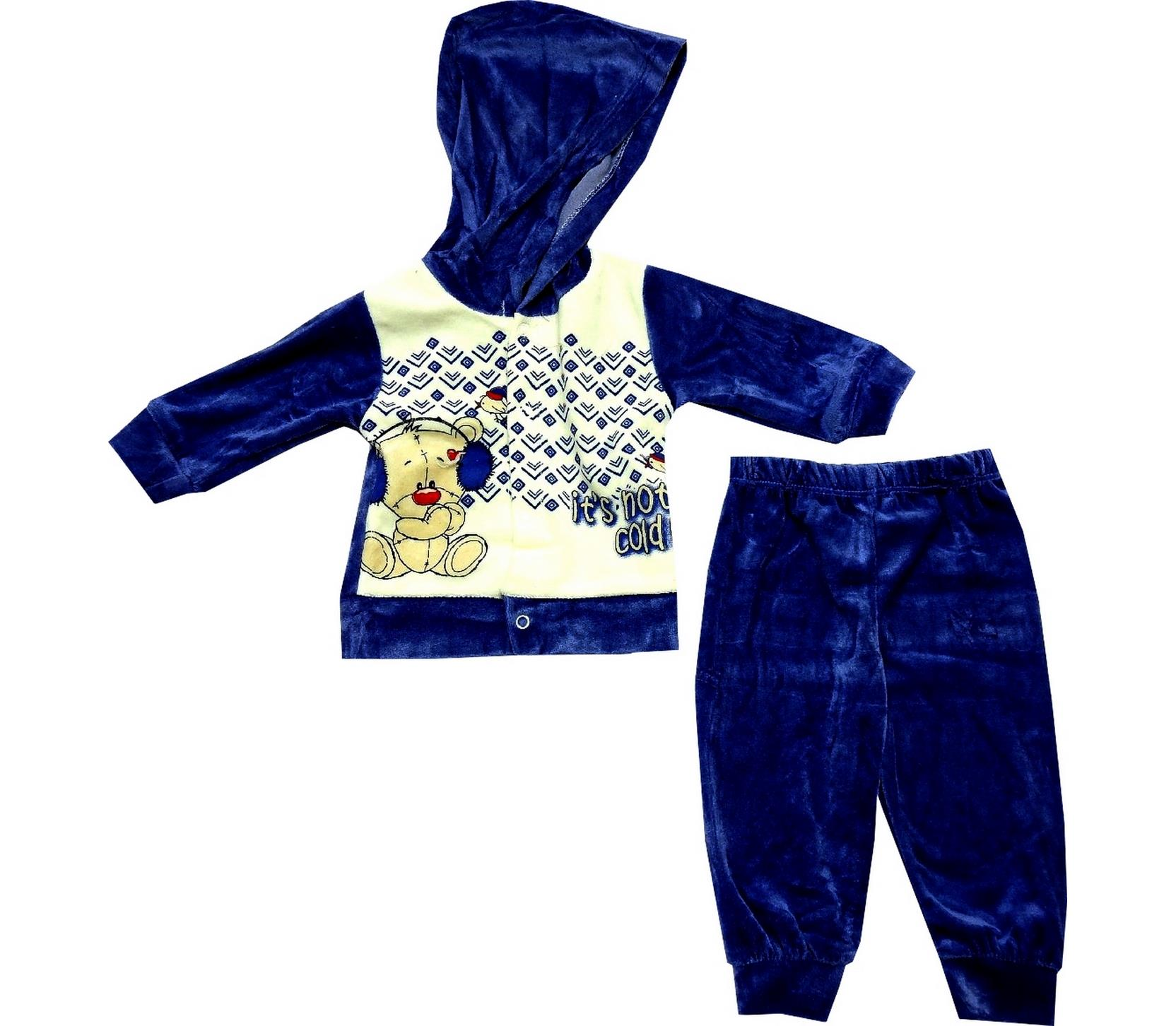 ASSORTED VELVET FABRIC PRINTED DESIGNED T-SHIRT AND TROUSER DOUBLE SET FOR BABY (3-6 MONTH)
