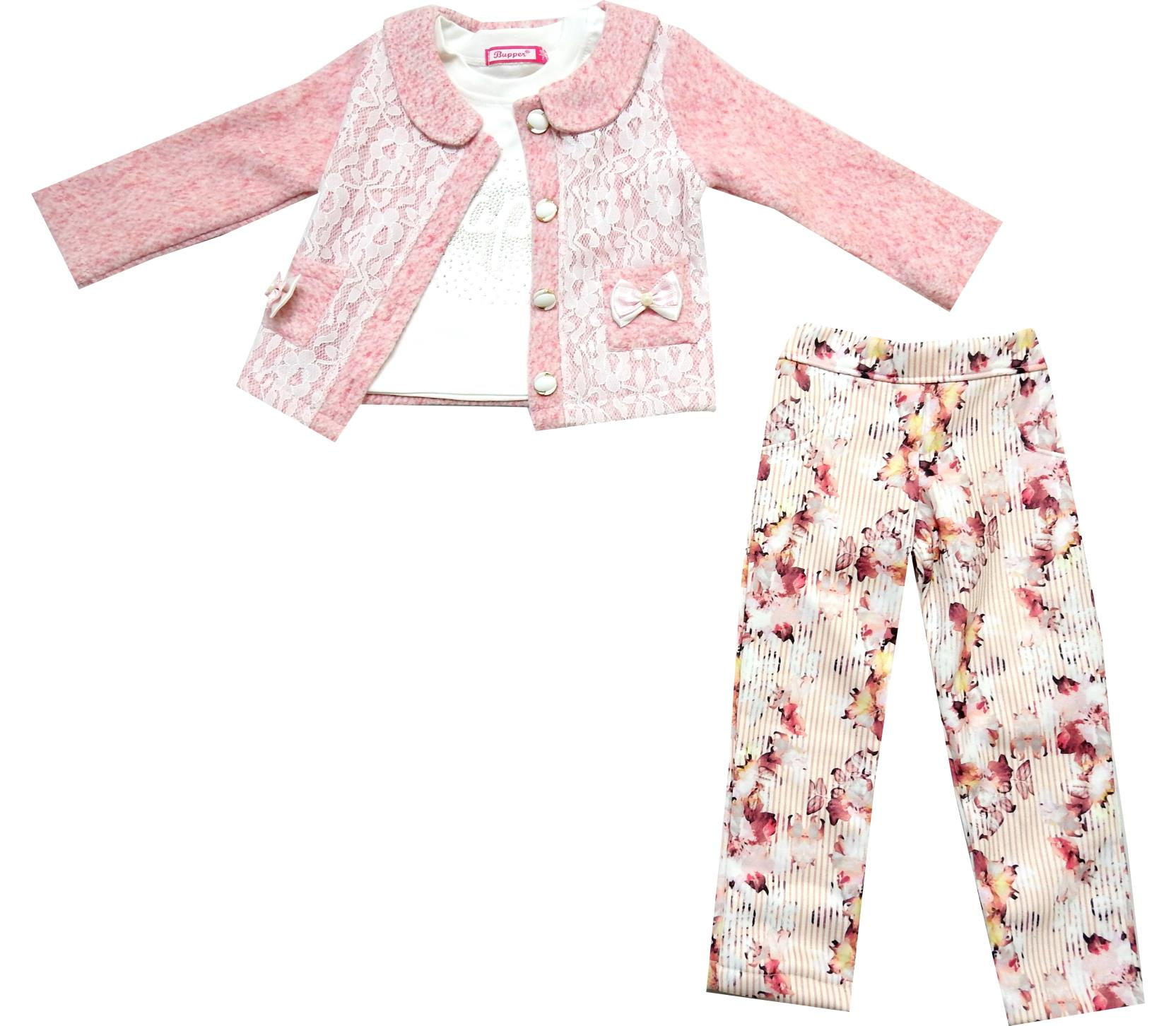 WHOLESALE LACE FABRIC EMBROIDERY JACKET, LONG SLEEVE T-SHIRT AND TROUSER TRIPLE SET FOR GIRL (2-3-4 AGE)