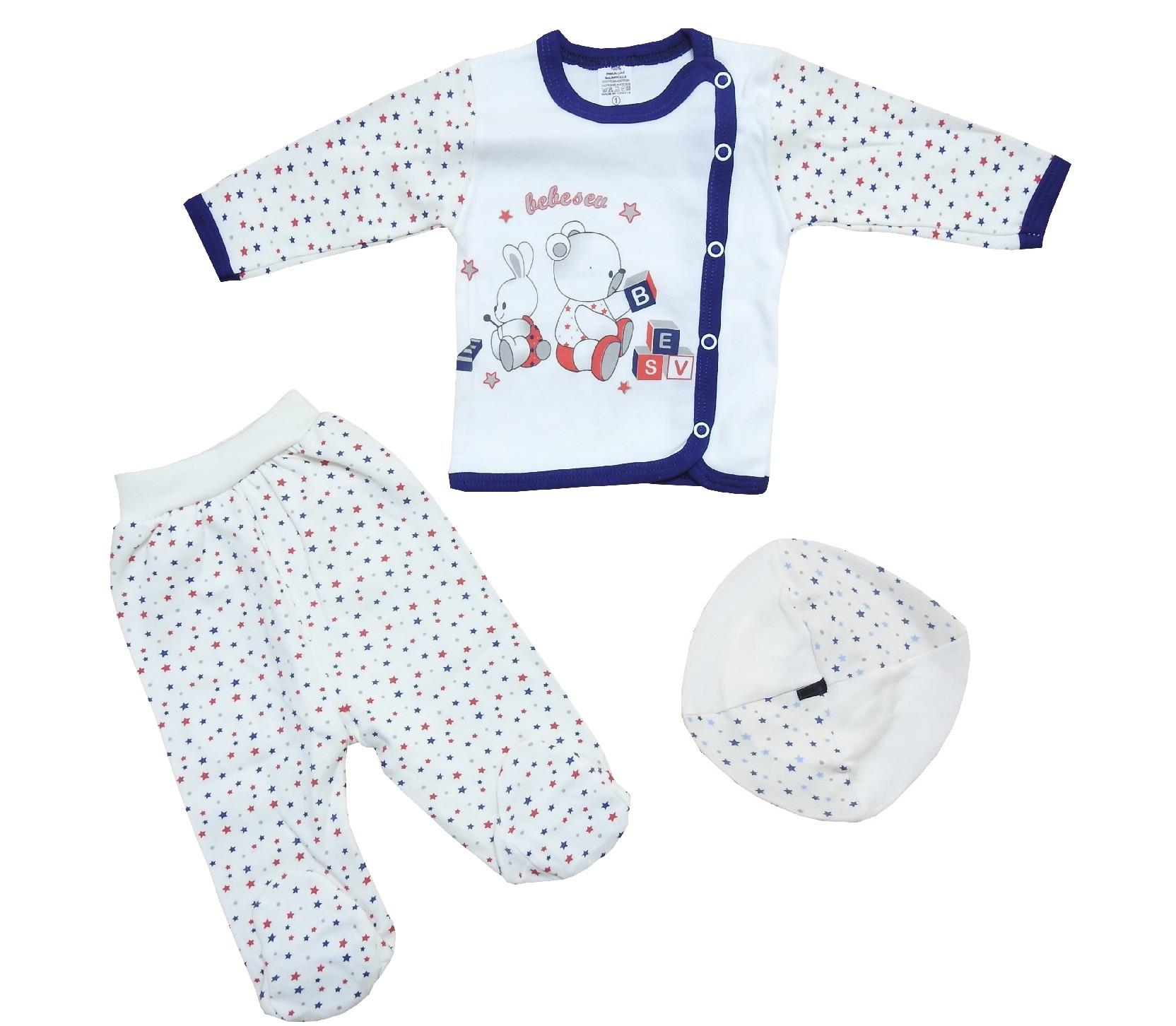 Wholesale embroidery blouse, trouser, beanie triple set for child (0-3 month)