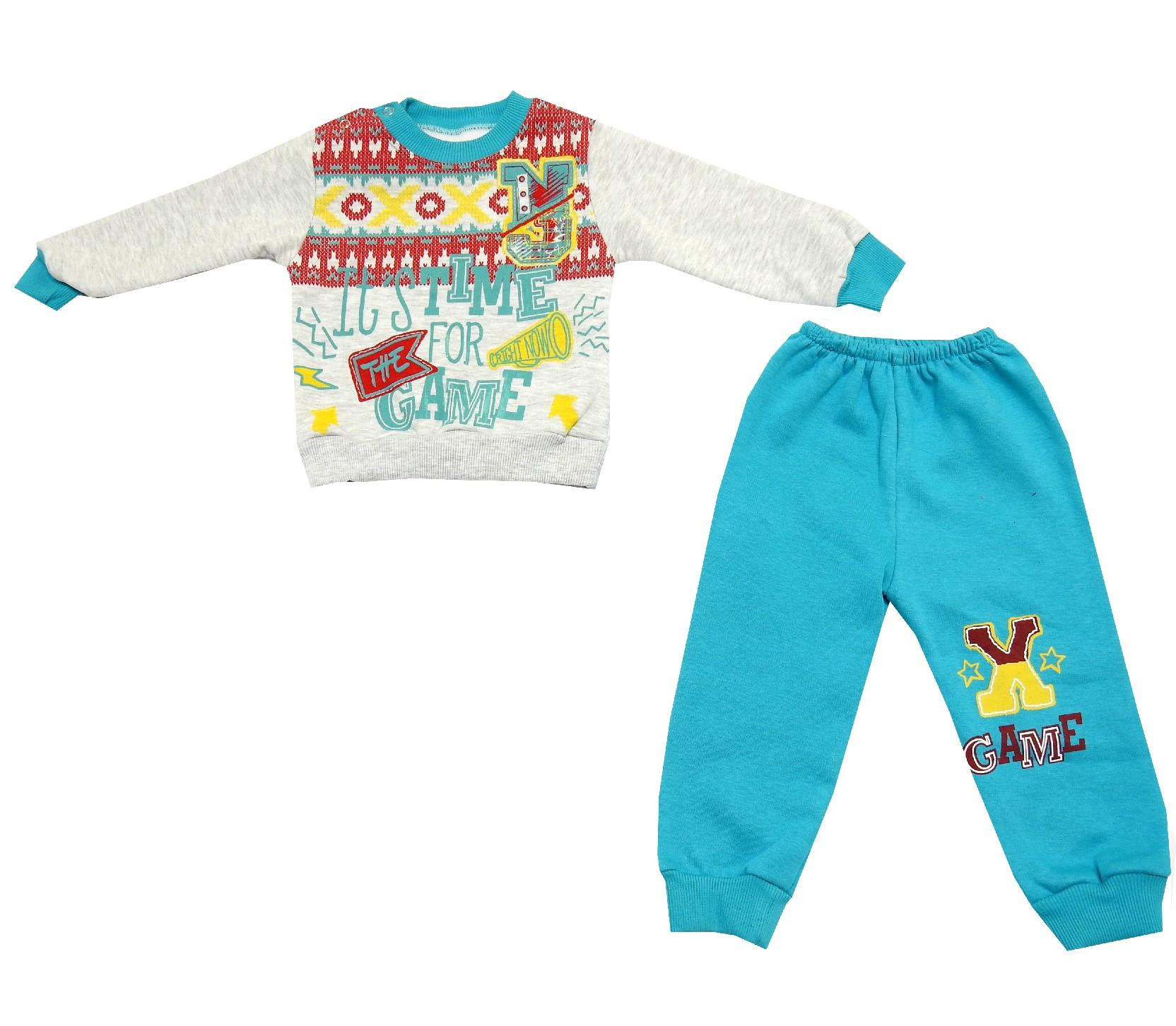 GAME PRINTED EMBROIDERELY DESIGNED SWEATSHIRT AND TROUSER DOUBLE SET FOR BOY (1-2-3 AGE)
