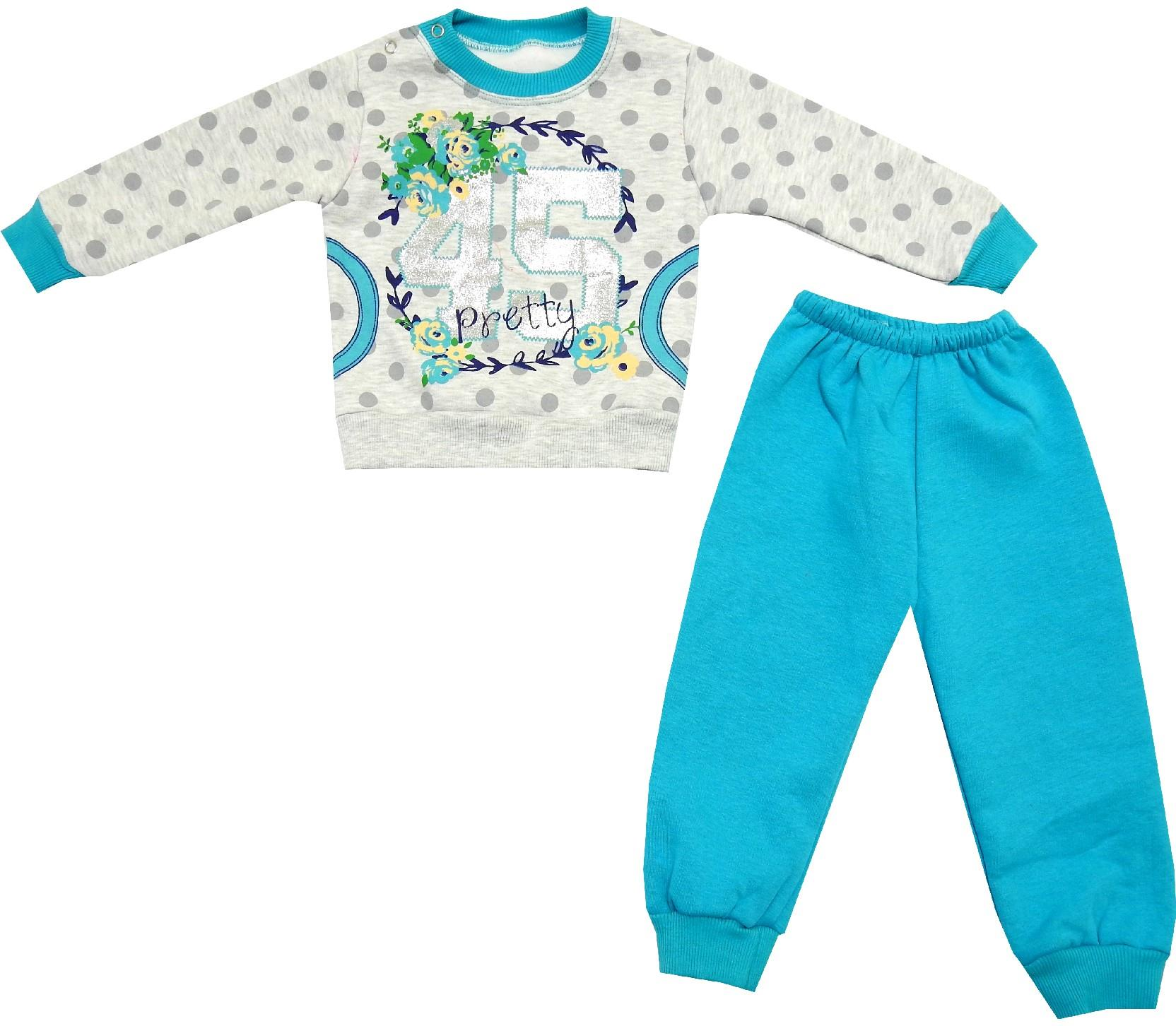45 PRINTED FLOWER EMBROIDERED SWEATSHIRT AND TROUSER DOUBLE SET FOR GIRL (1-2-3 AGE)