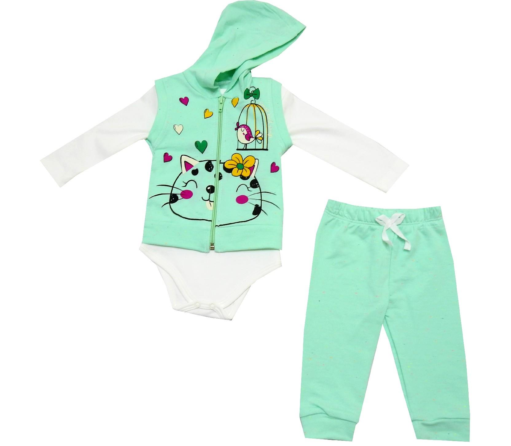 WHOLESALE CAT PRINTED BODYSUIT, SWEATSHIRT & TROUSER TRIPLE SET FOR GIRL (3-6-9 MONTH)