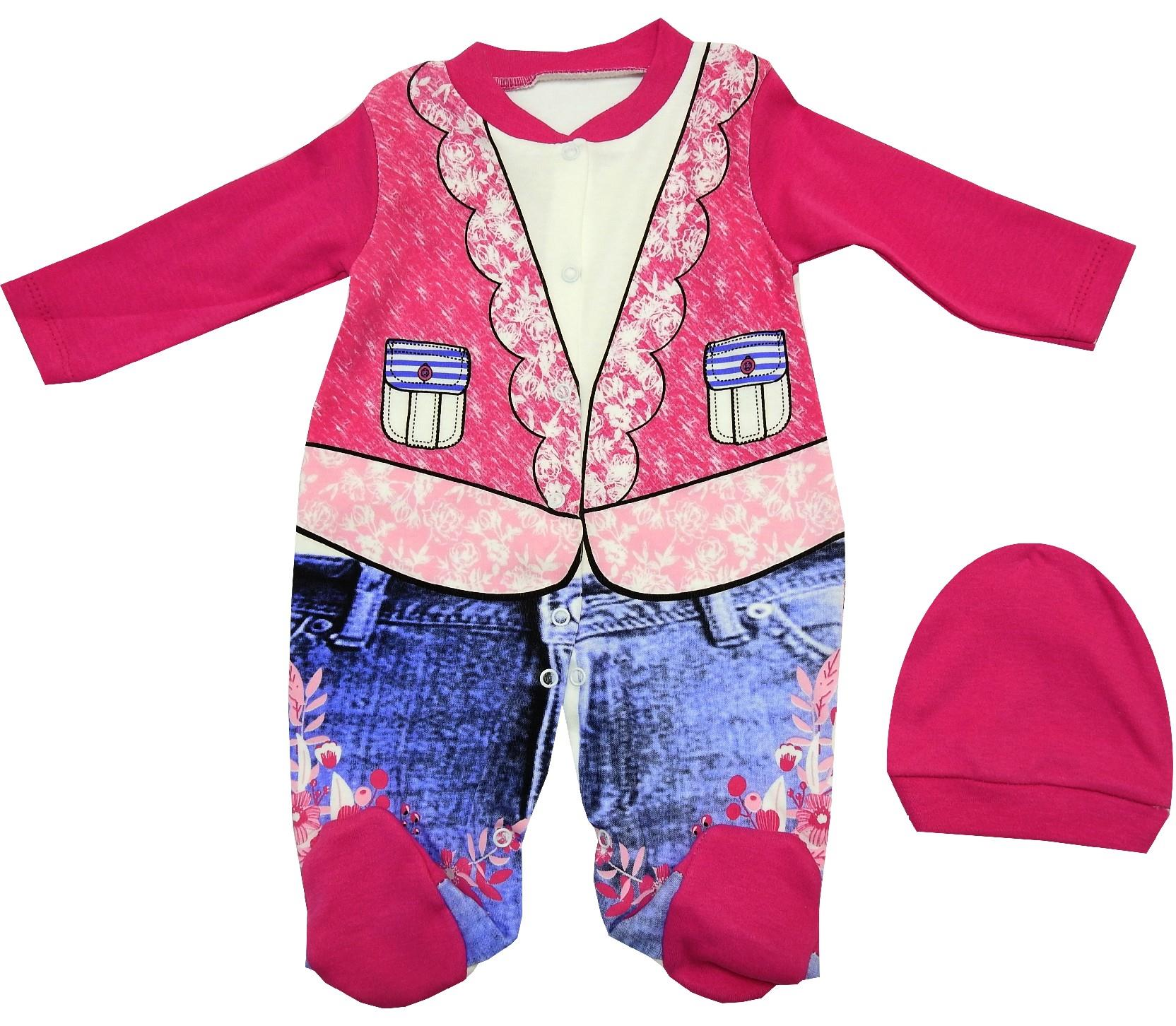WHOLESALE DECORATIVE BOLERO PATTERN DESIGN BODYSUIT & BEANIE DOUBLE SET FOR GIRL (3-6-9 MONTH)