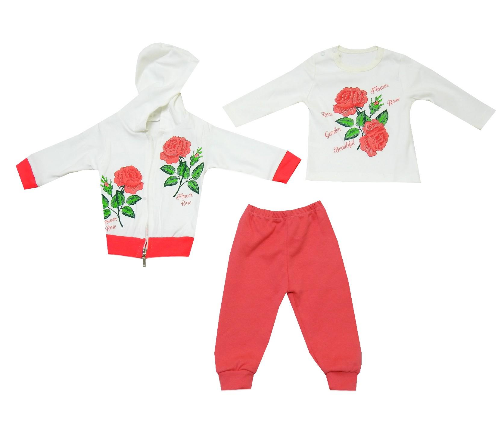 WHOLESALE FLOWER PRINTED DESIGN SWEATSHIRT, T-SHIRT & TROUSER TRIPLE SET FOR GIRL (6-9-12 MONTH)
