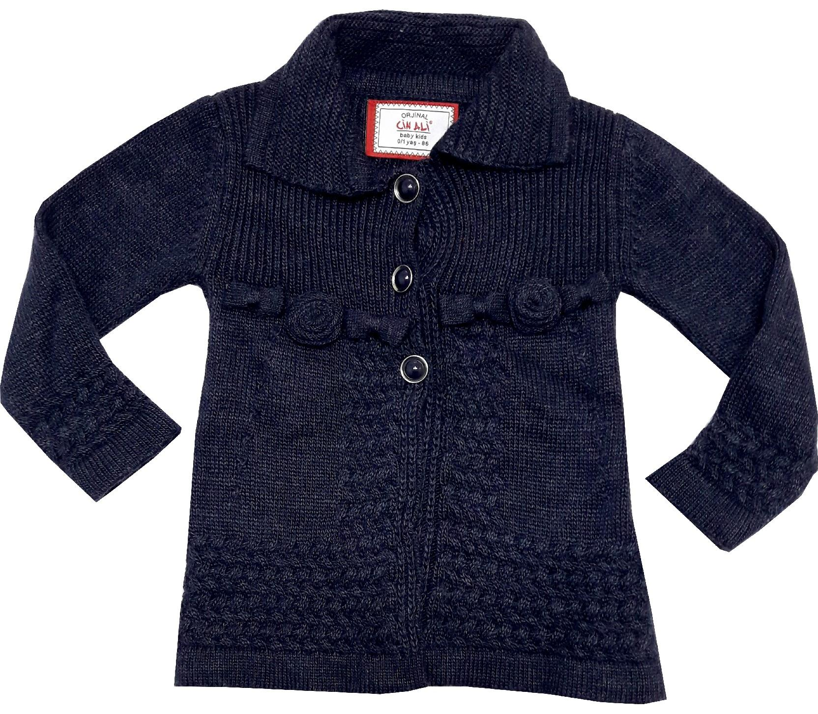 WHOLESALE FLOWERY KNITTED DESIGN CARDIGAN FOR GIRL (1-2-3 AGE)