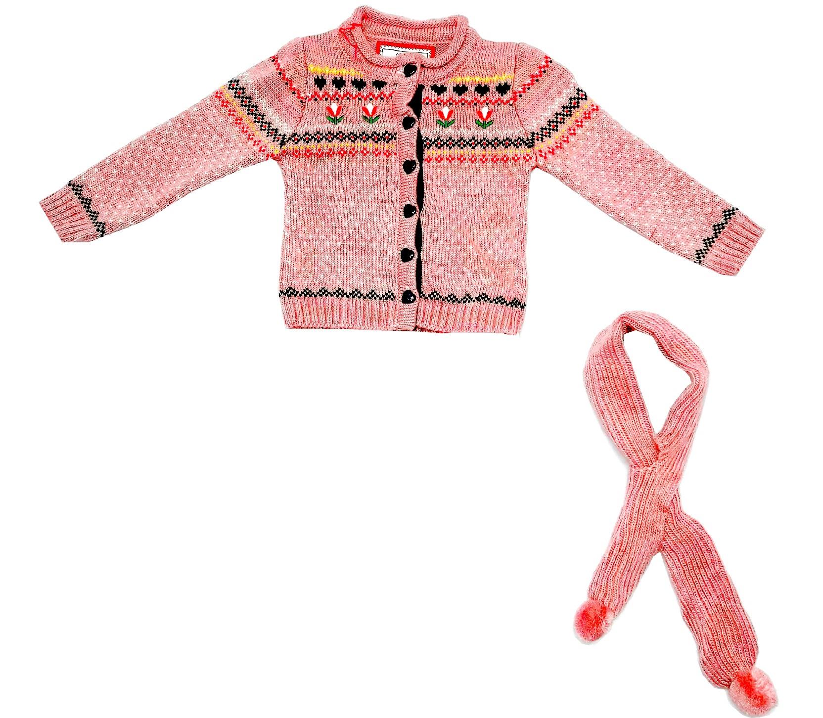 WHOLESALE FLOWER KNITTED DESIGN CARDIGAN FOR KIDS  (1-2-3 AGE)