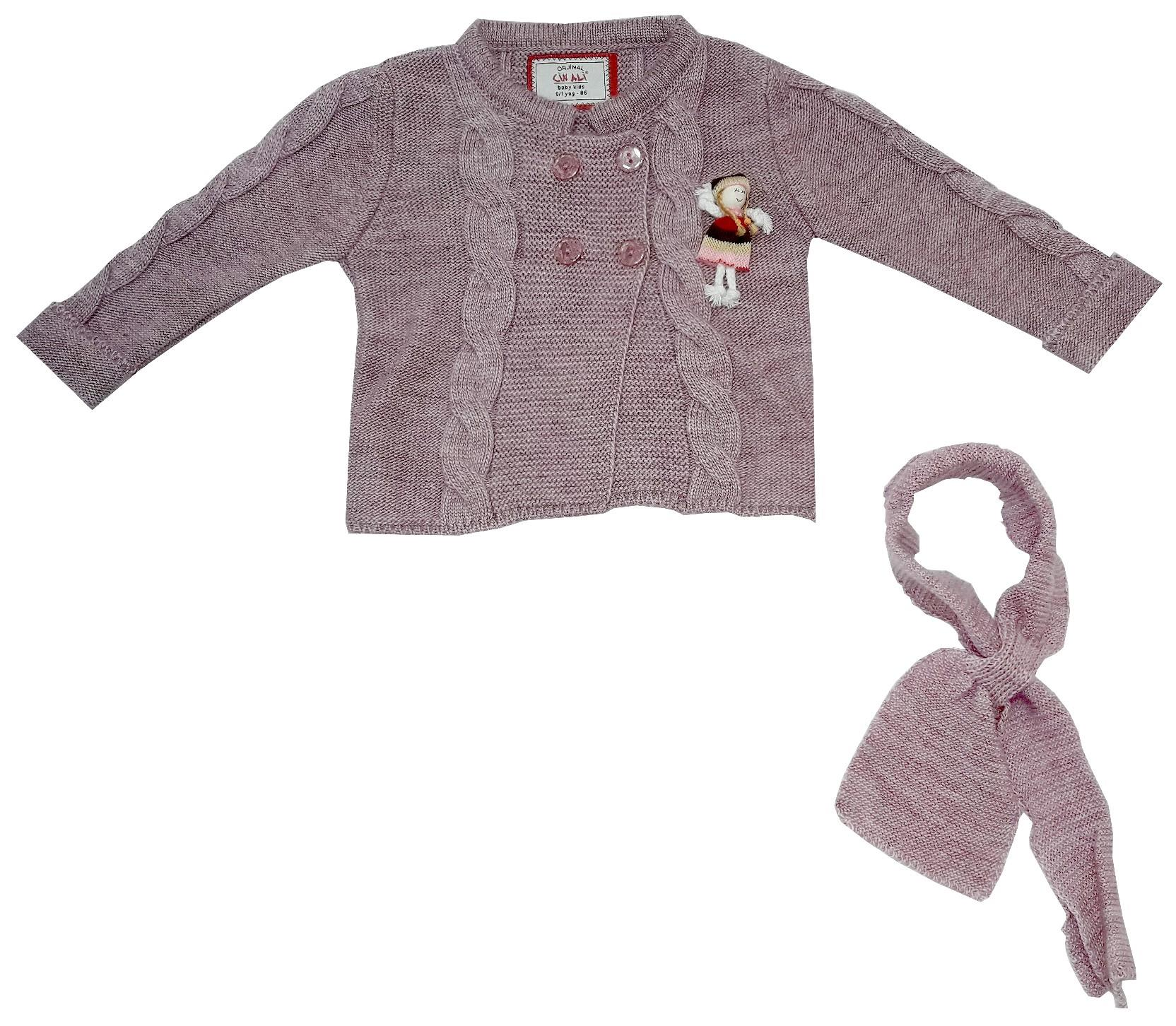 WHOLESALE KNITTED DESIGN DECORATIVE DOLL PATTERN CARDIGAN FOR GIRL (1-2-3 AGE)