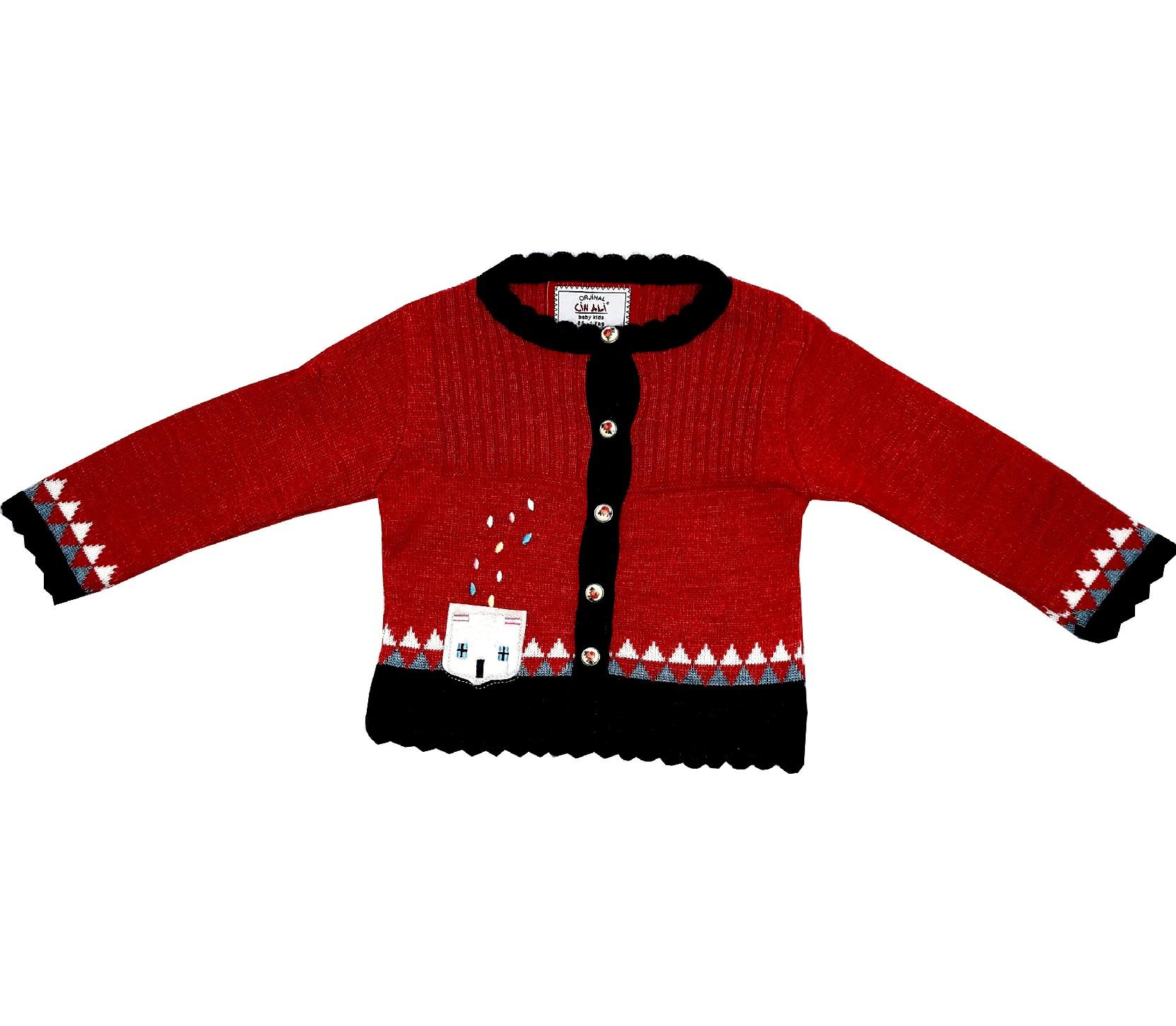 WHOLESALE GEOMETRIC PATTERNED DESIGN CARDIGAN FOR GIRL (1-2-3 AGE)
