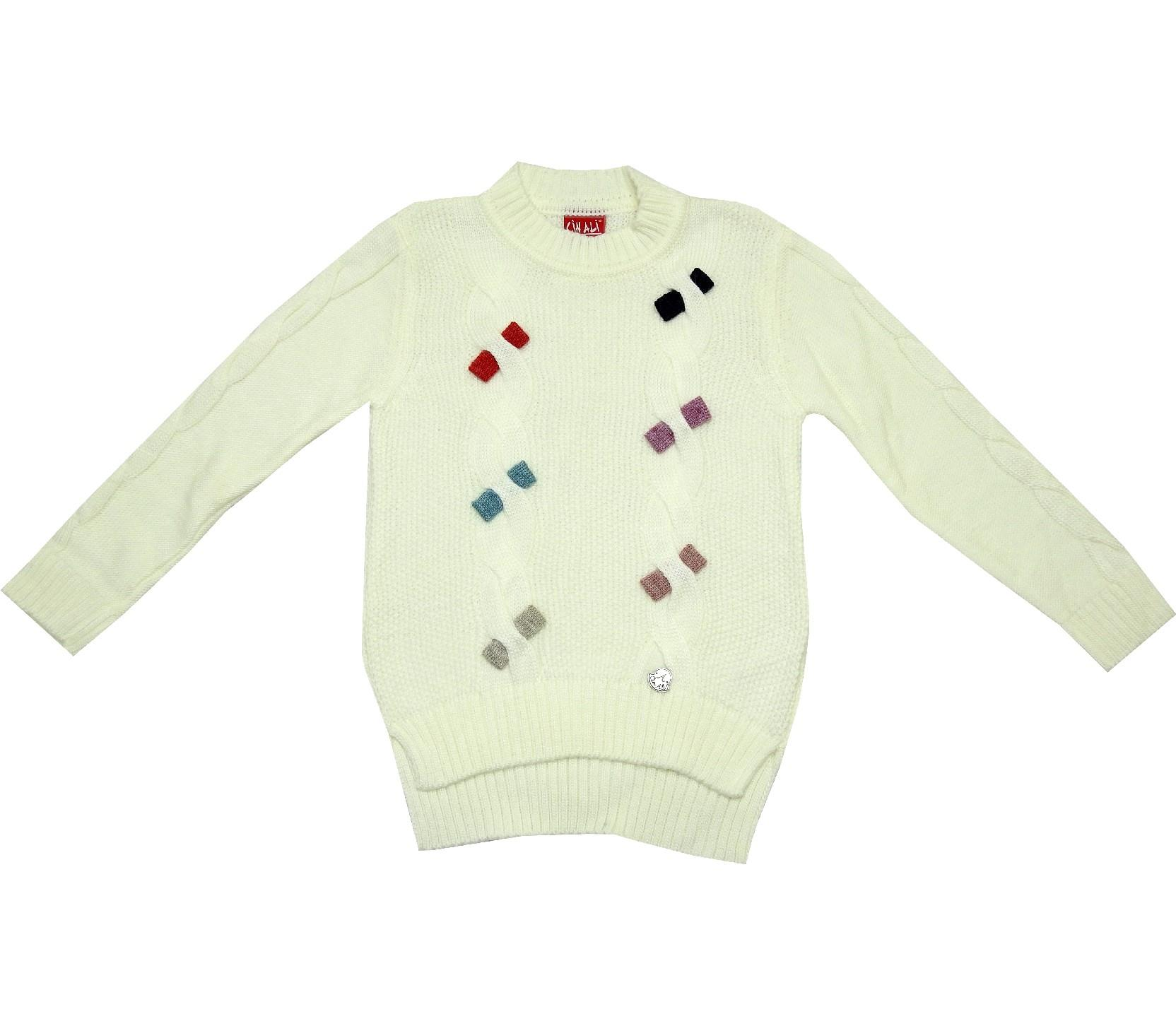 WHOLESALE KNITTED DESIGN DECORATIVE BUCKLE DESIGN SWEATER FOR GIRL (4-6-8-10 AGE)