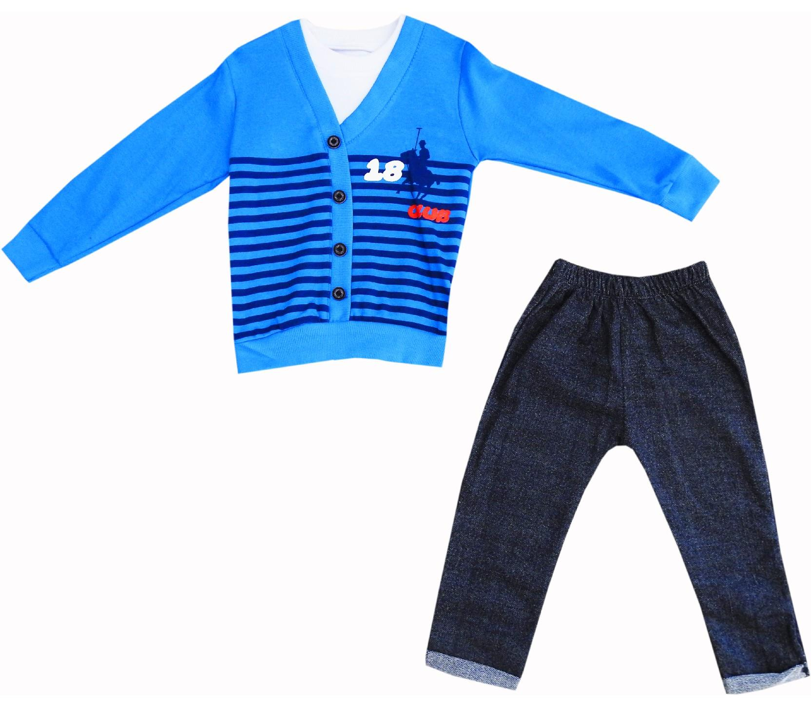Wholesale 18 club print, striped design sweat and pant double set suit for boy (6-12-18-24 month)