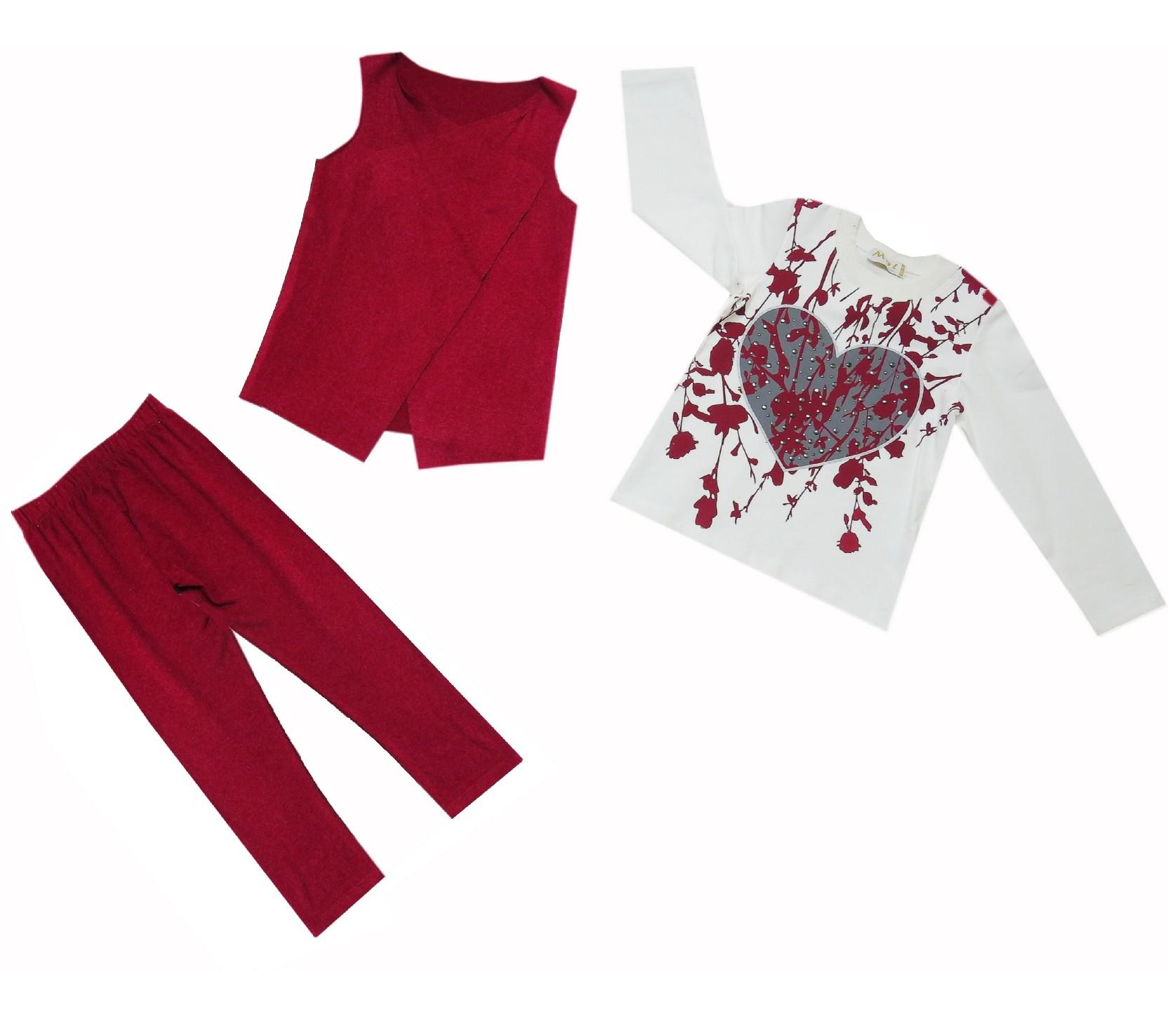 Wholesale heart print long sleeve t-shirt, vest and trouser triple set for girl (5-6-7 age)