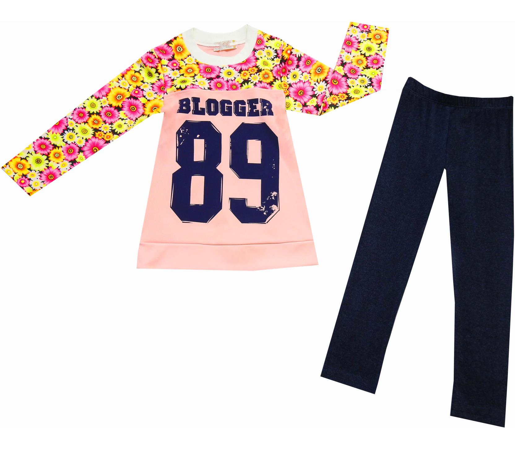 WHOLESALE 89 BLOGGER PRINT AND FLOWER EMBROIDERY TOP AND TROUSER DOUBLE SET FOR GIRL (6-7-8 AGE)